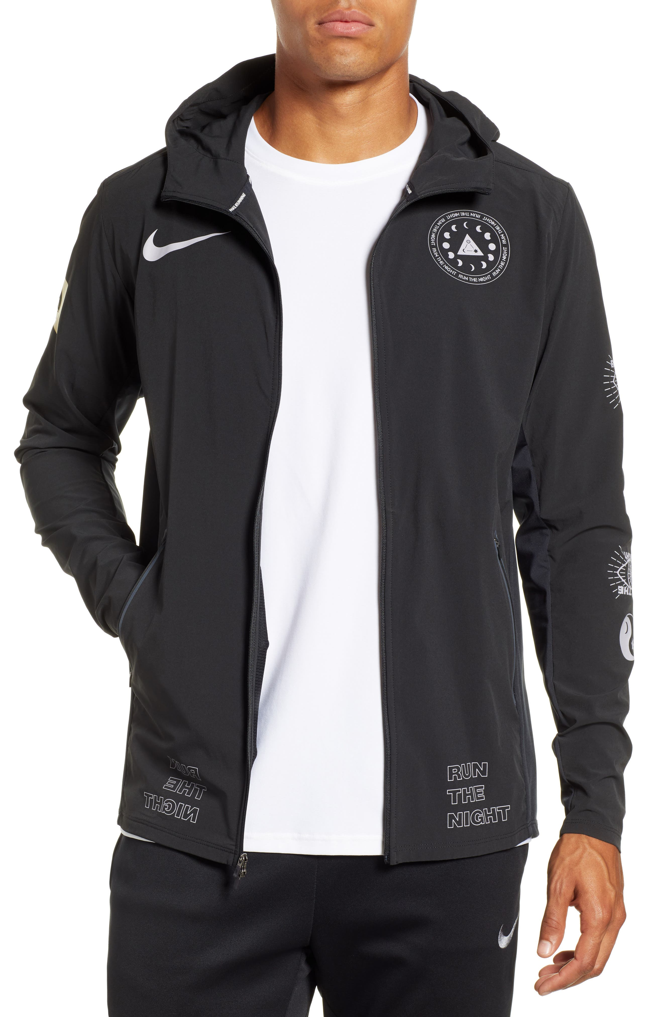 Winter Solstice Reflective Running Jacket,                         Main,                         color, BLACK/ PROVENCE PURPLE