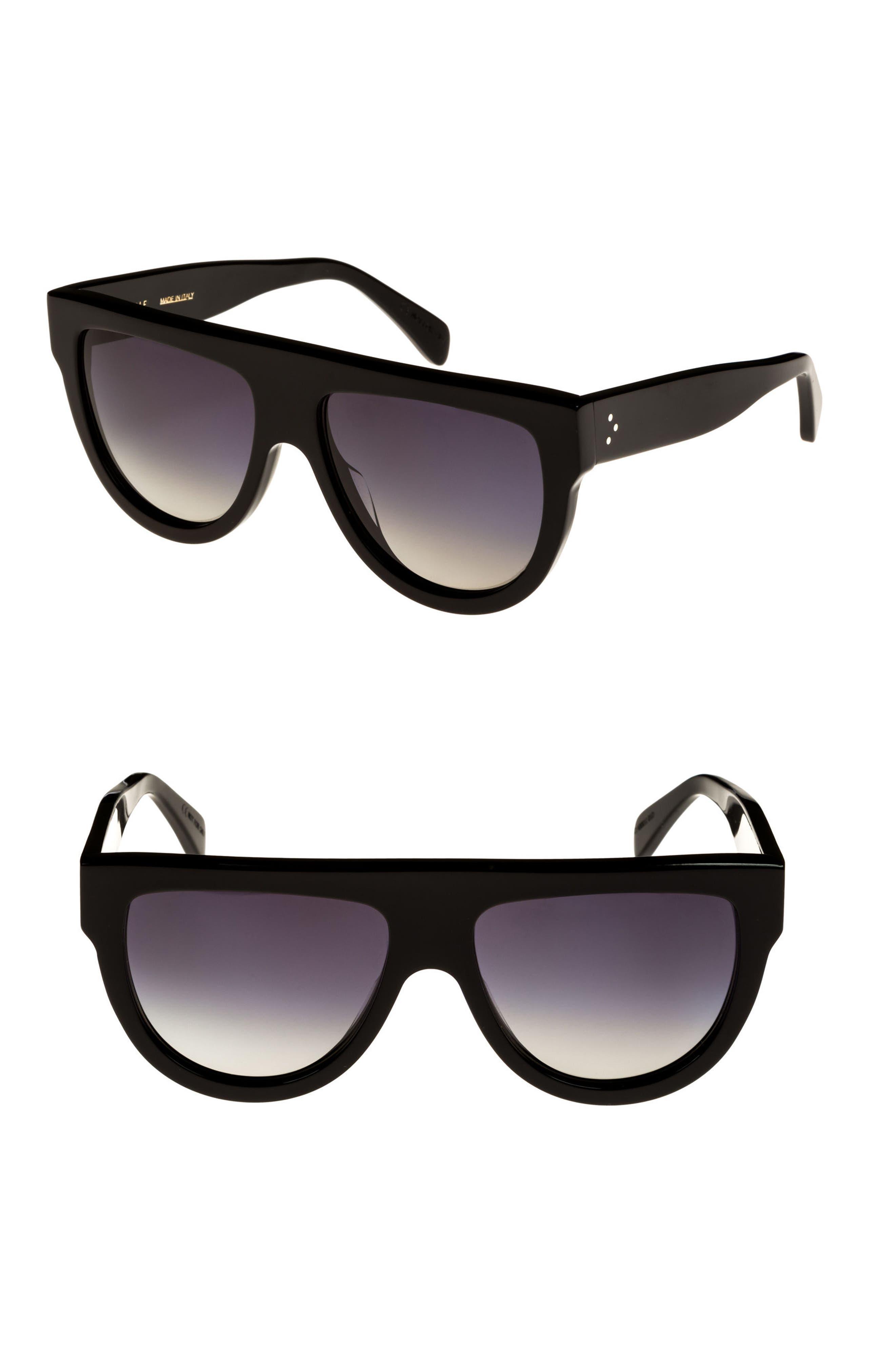 Special Fit 60mm Polarized Gradient Flat Top Sunglasses,                             Alternate thumbnail 2, color,                             BLACK/ GRADIENT SMOKE