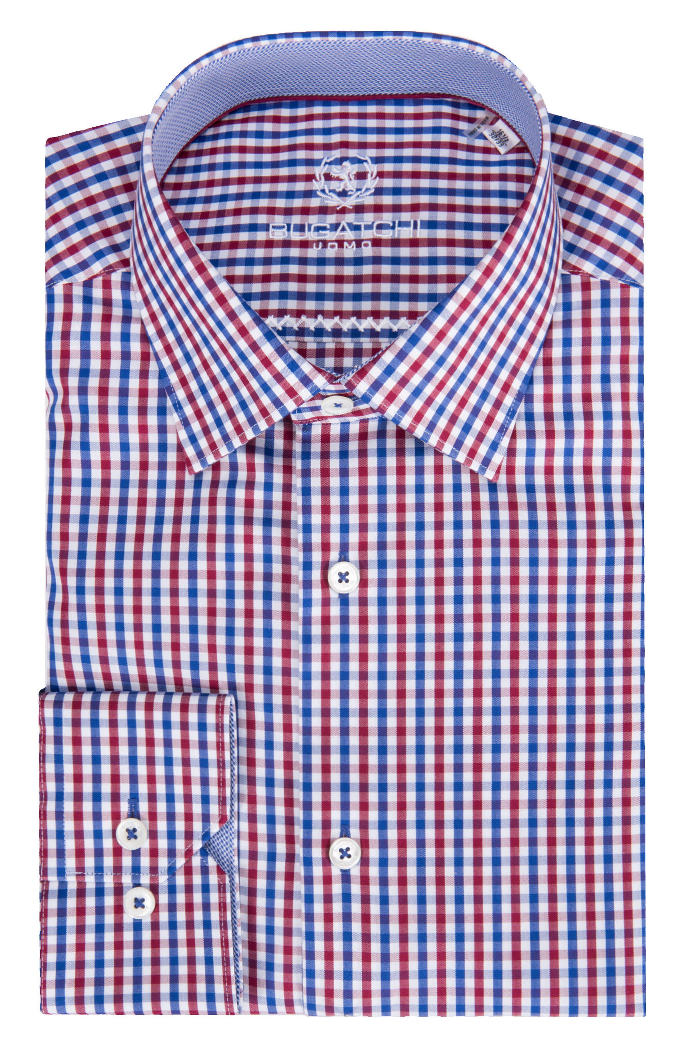 BUGATCHI Trim Fit Check Dress Shirt, Main, color, 612
