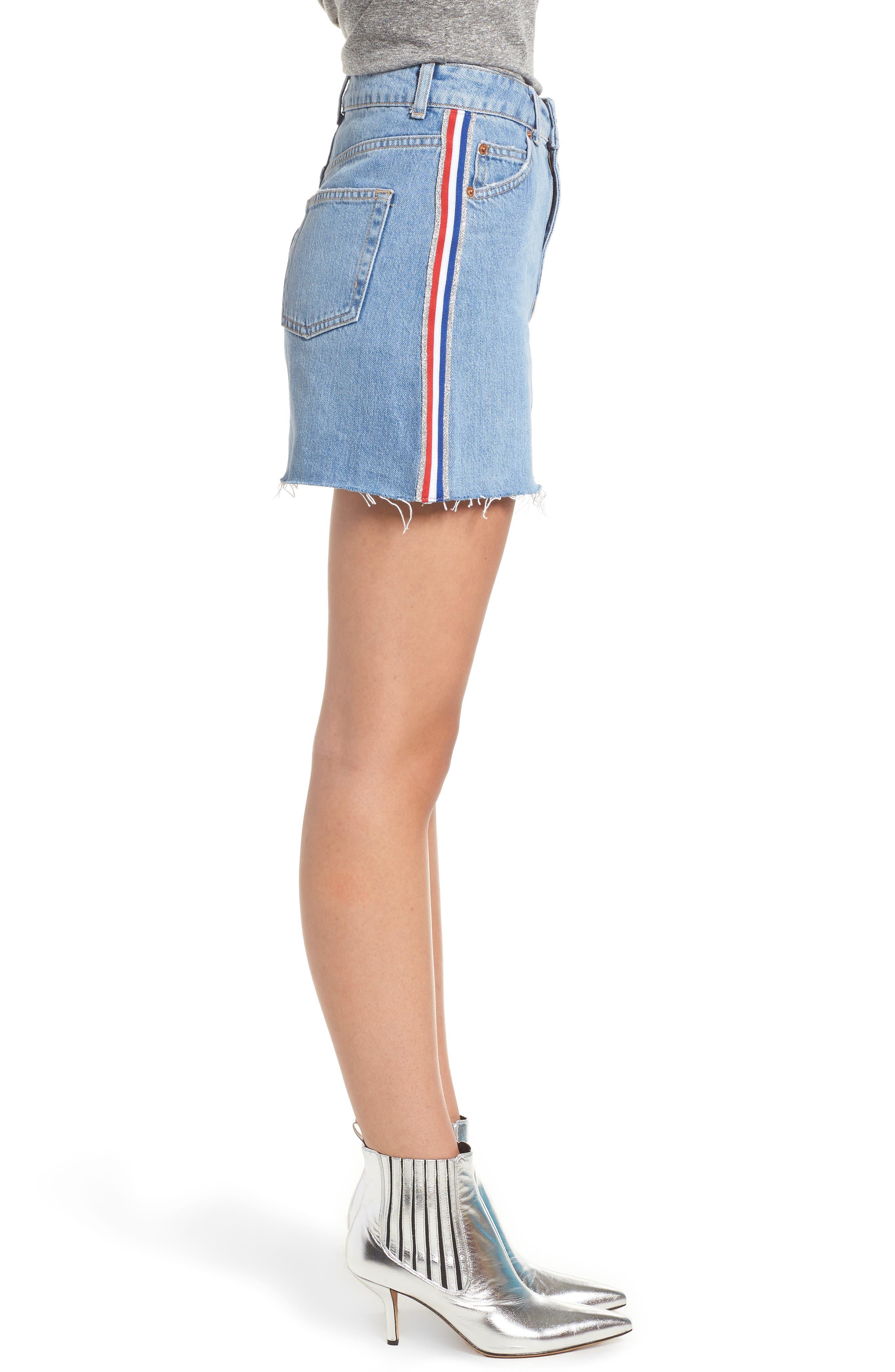 MOTO Stripe Denim Skirt,                             Alternate thumbnail 3, color,