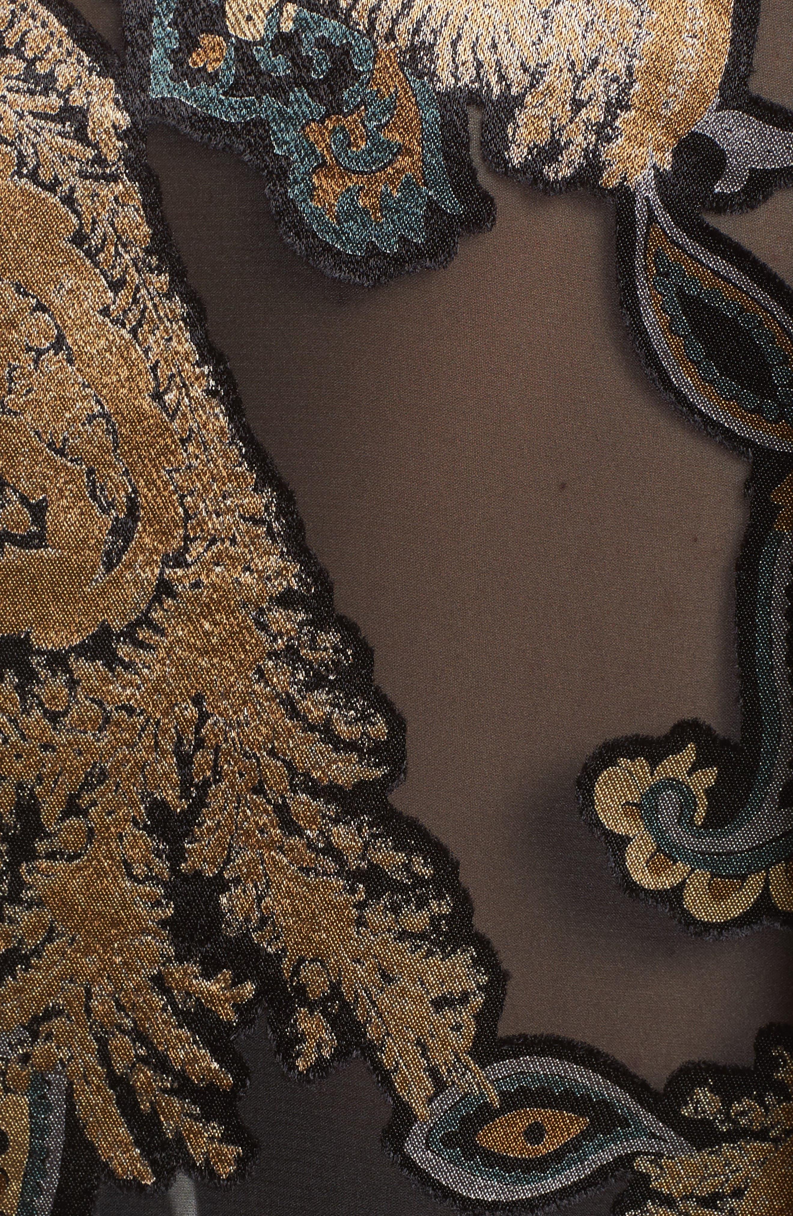 Desra Renaissance Paisley Devoré Blouse,                             Alternate thumbnail 5, color,                             001