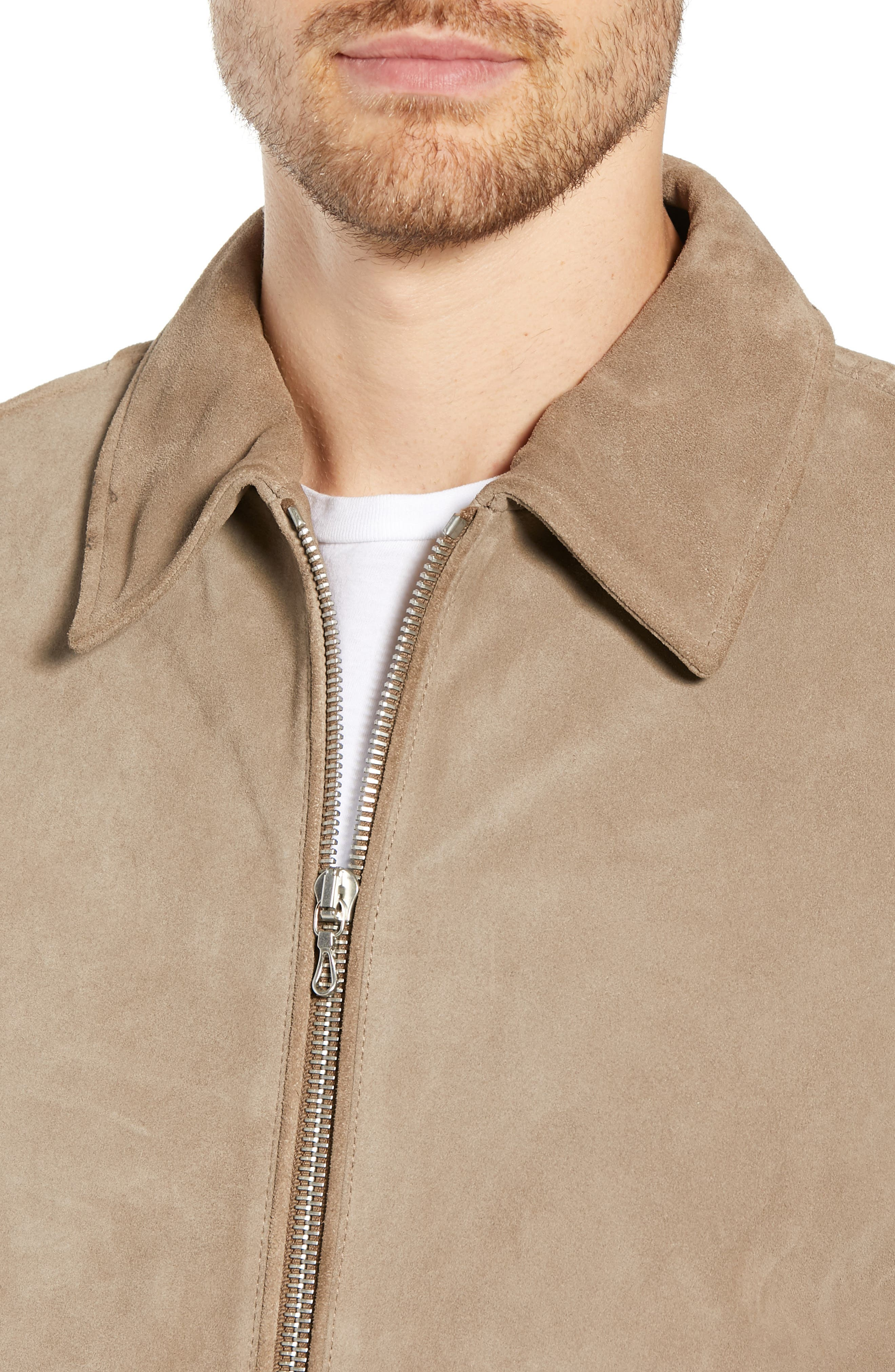 RAG & BONE,                             Regular Fit Suede Garage Jacket,                             Alternate thumbnail 4, color,                             CEMENT