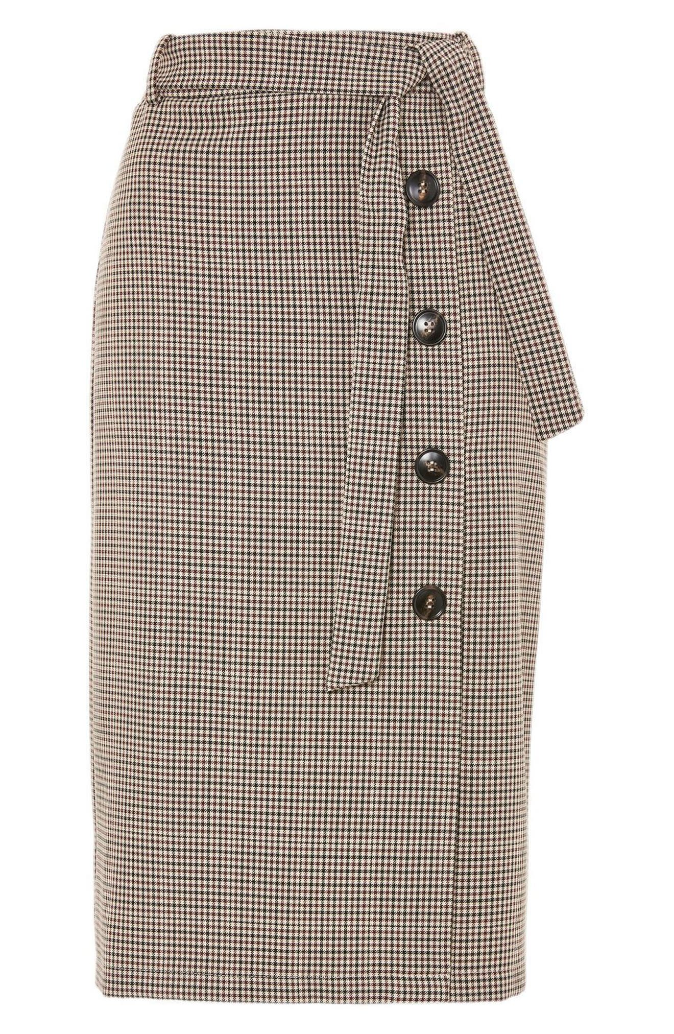 Button Through Check Pencil Skirt,                             Alternate thumbnail 4, color,                             230