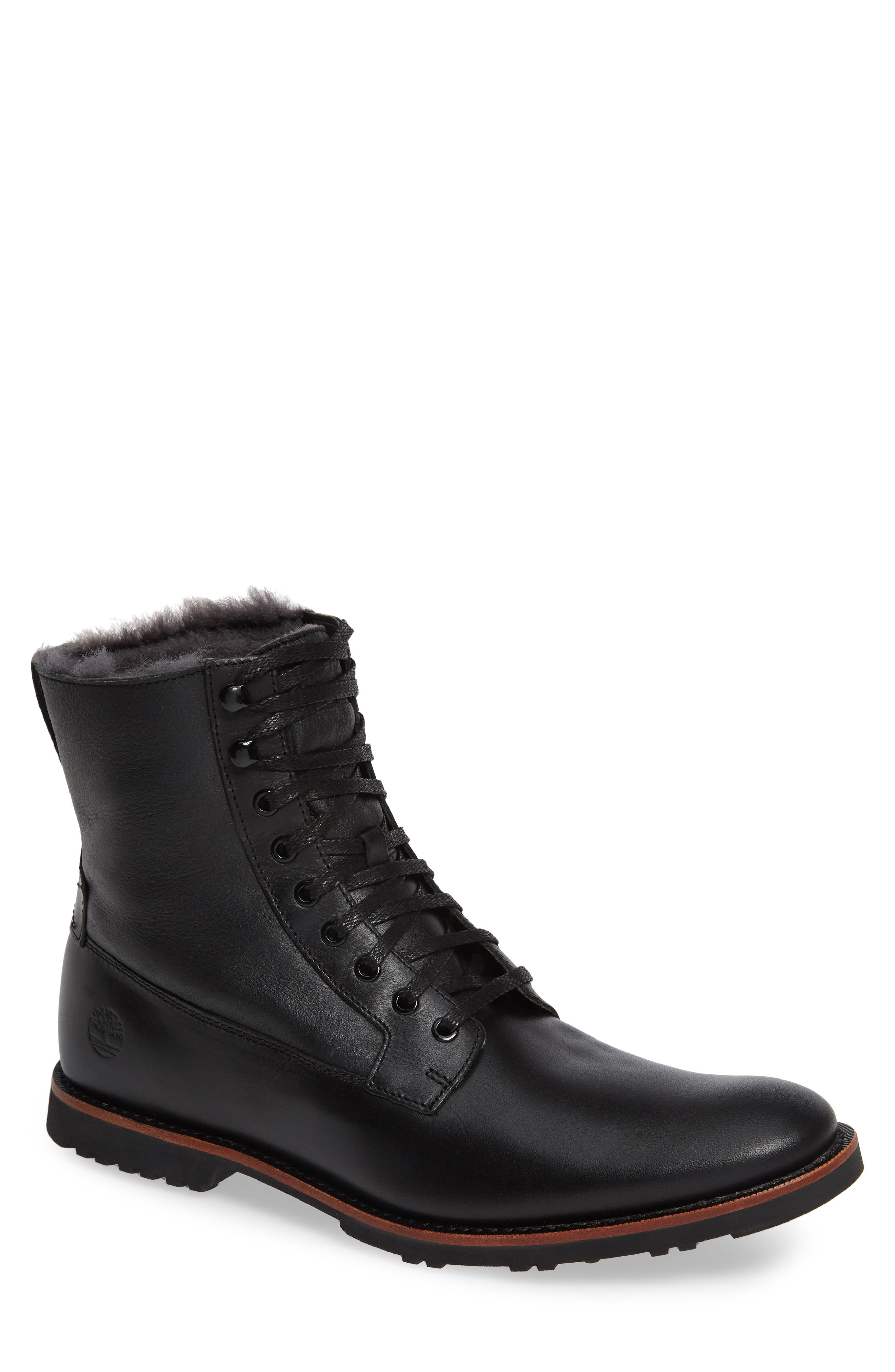 Kendrick Genuine Shearling Boot,                             Main thumbnail 1, color,                             JET BLACK W/ CRACKLE SHEARLING