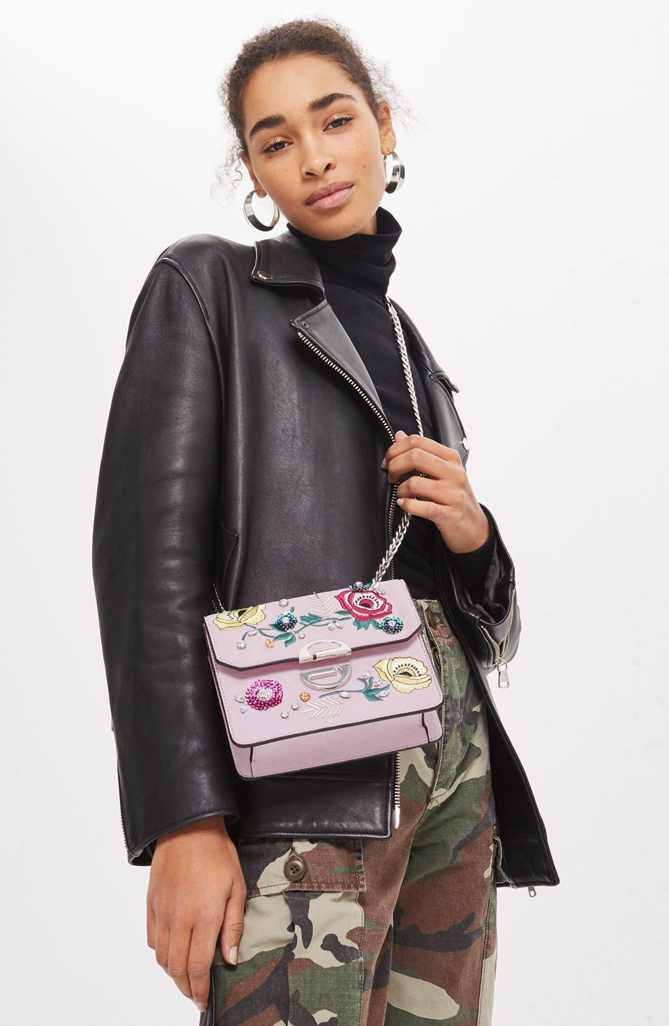 Embellished Faux Suede Crossbody Bag,                             Alternate thumbnail 4, color,                             650