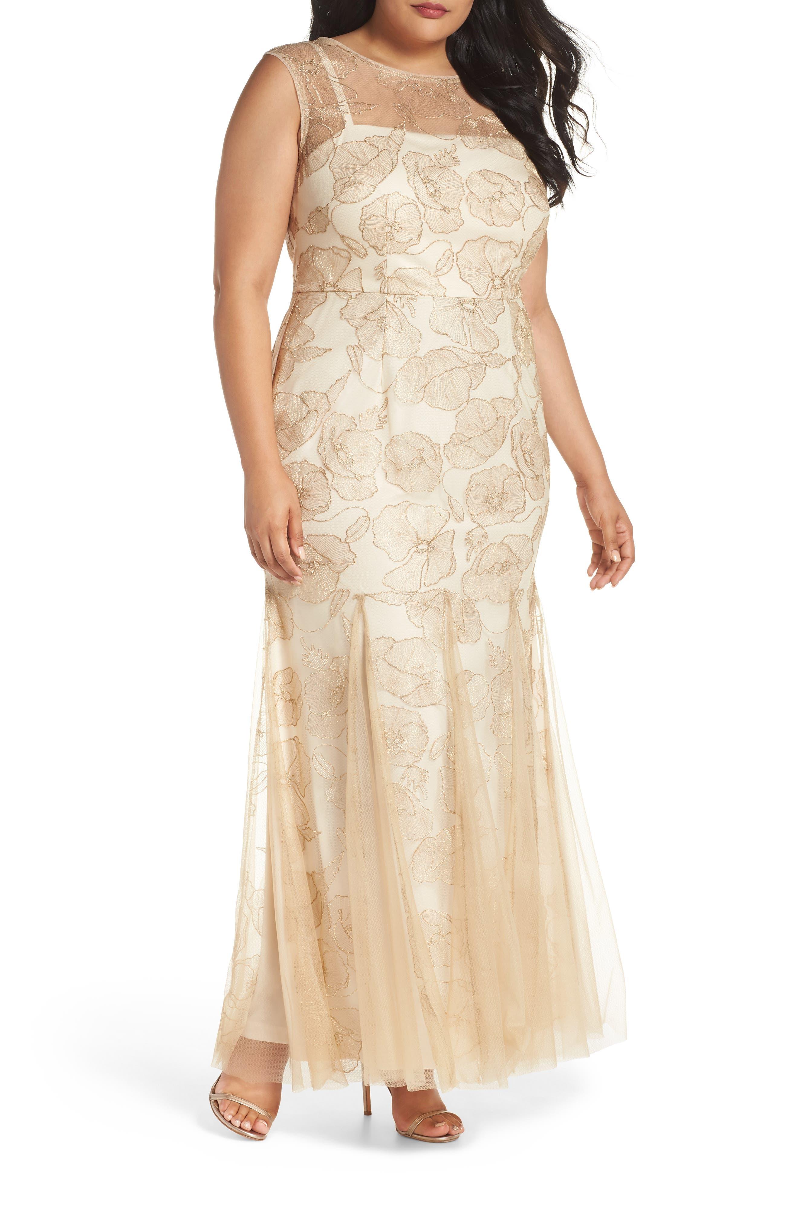 Plus Size Adrianna Papell Sleeveless Embroidered Gown, Metallic