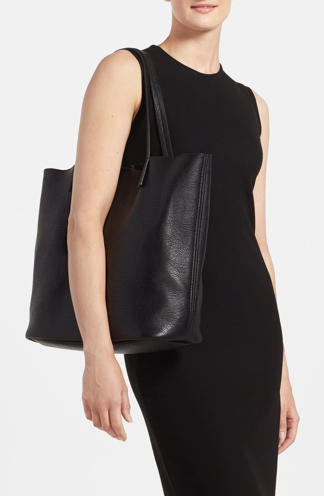 Faux Leather Pocket Tote,                             Alternate thumbnail 4, color,                             001