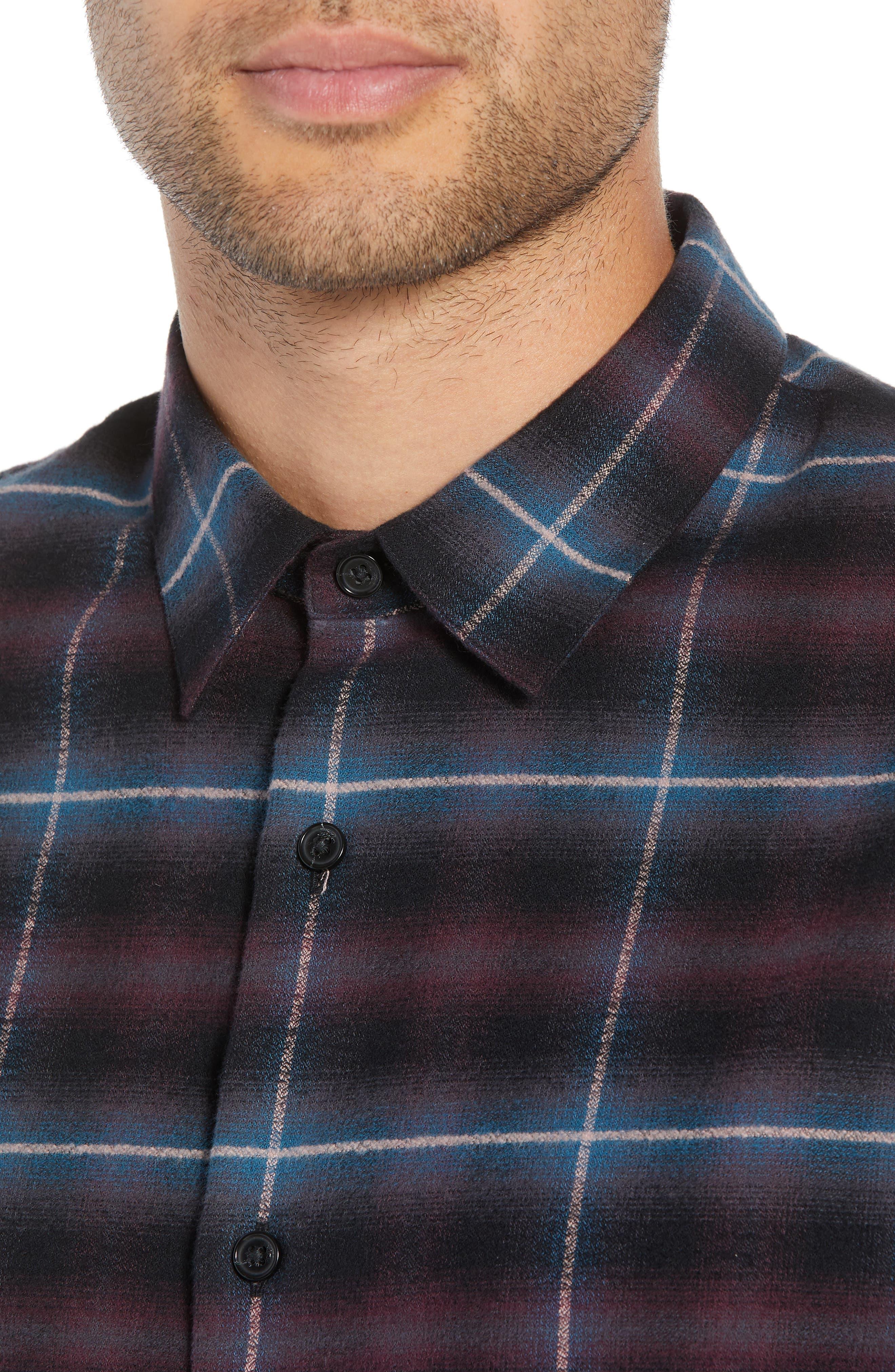 Slim Fit Shadow Plaid Grid Sport Shirt,                             Alternate thumbnail 2, color,                             MULBERRY
