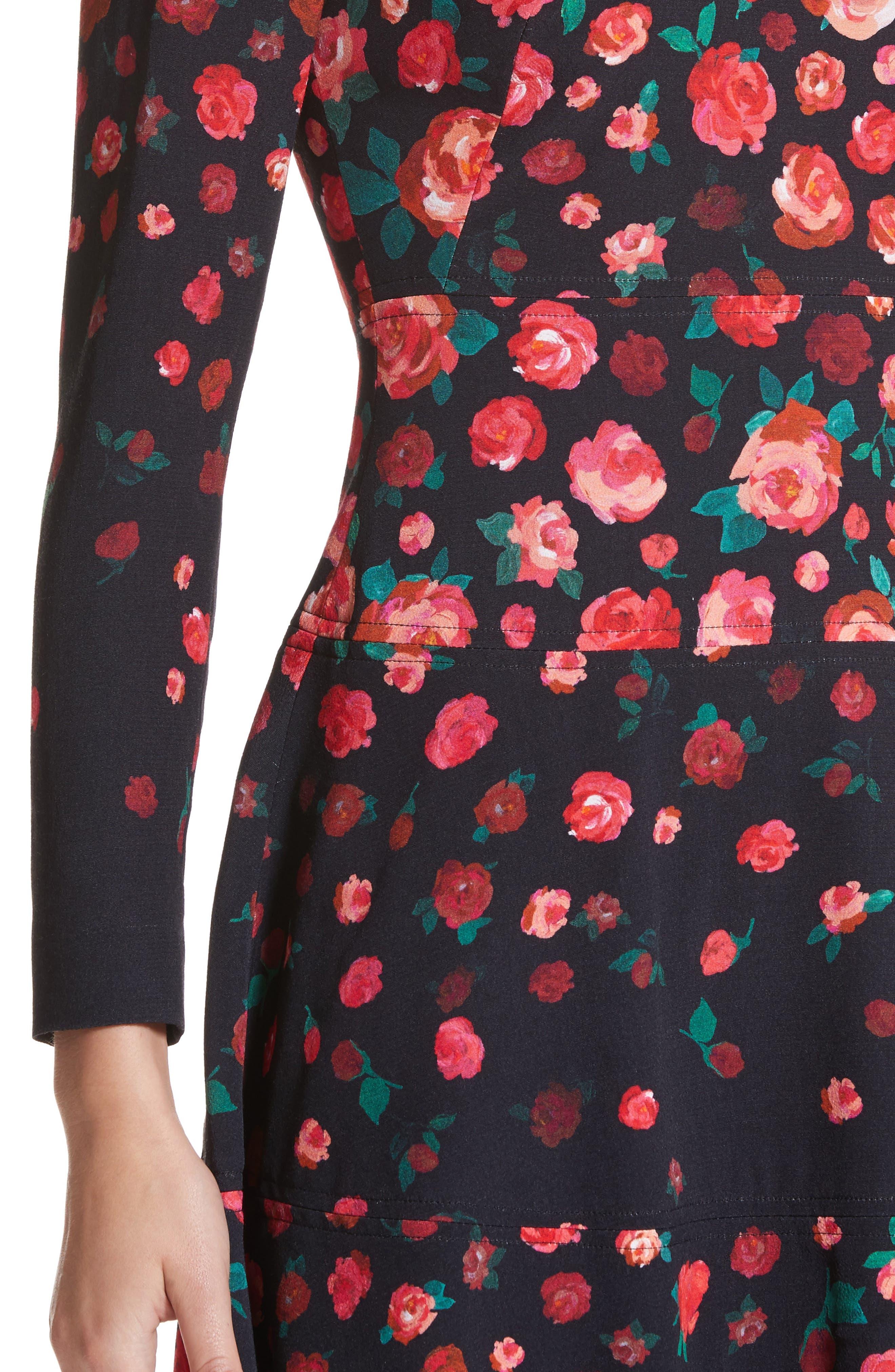 Floral Print Fit & Flare Dress,                             Alternate thumbnail 4, color,                             621