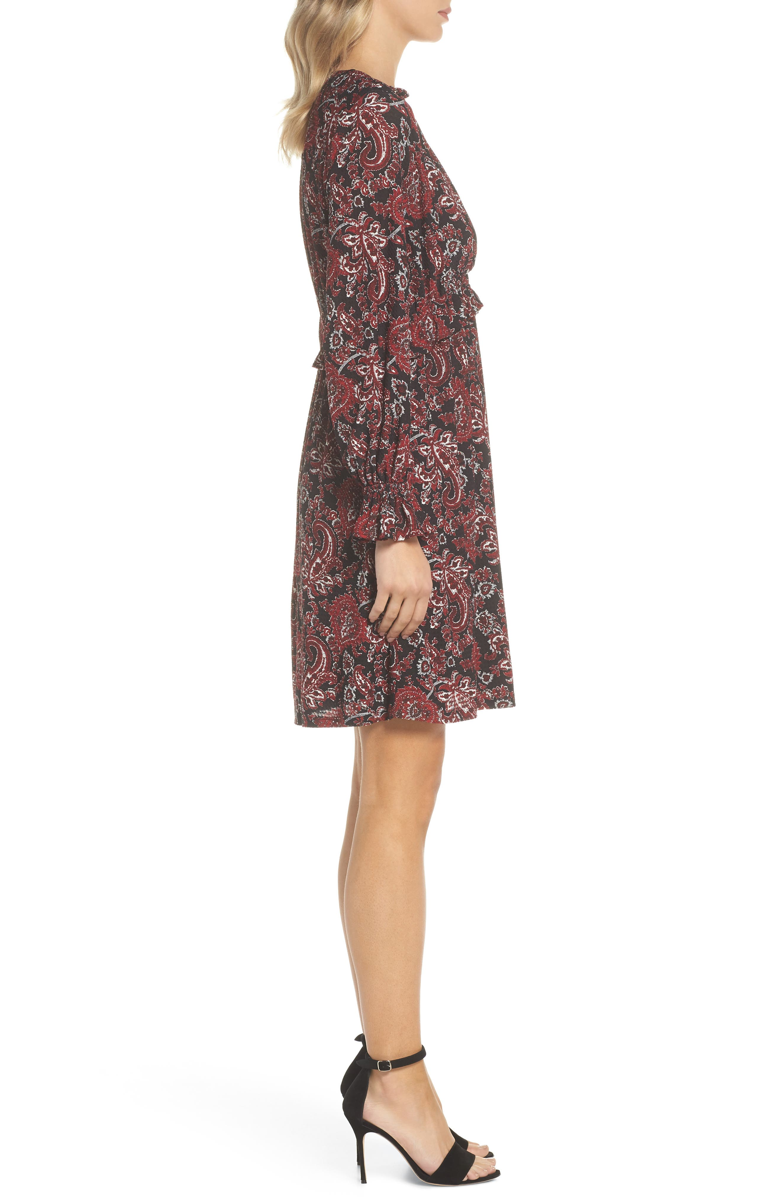 Shirred Ruffle Sleeve Dress,                             Alternate thumbnail 3, color,                             BLACK/ MAROON