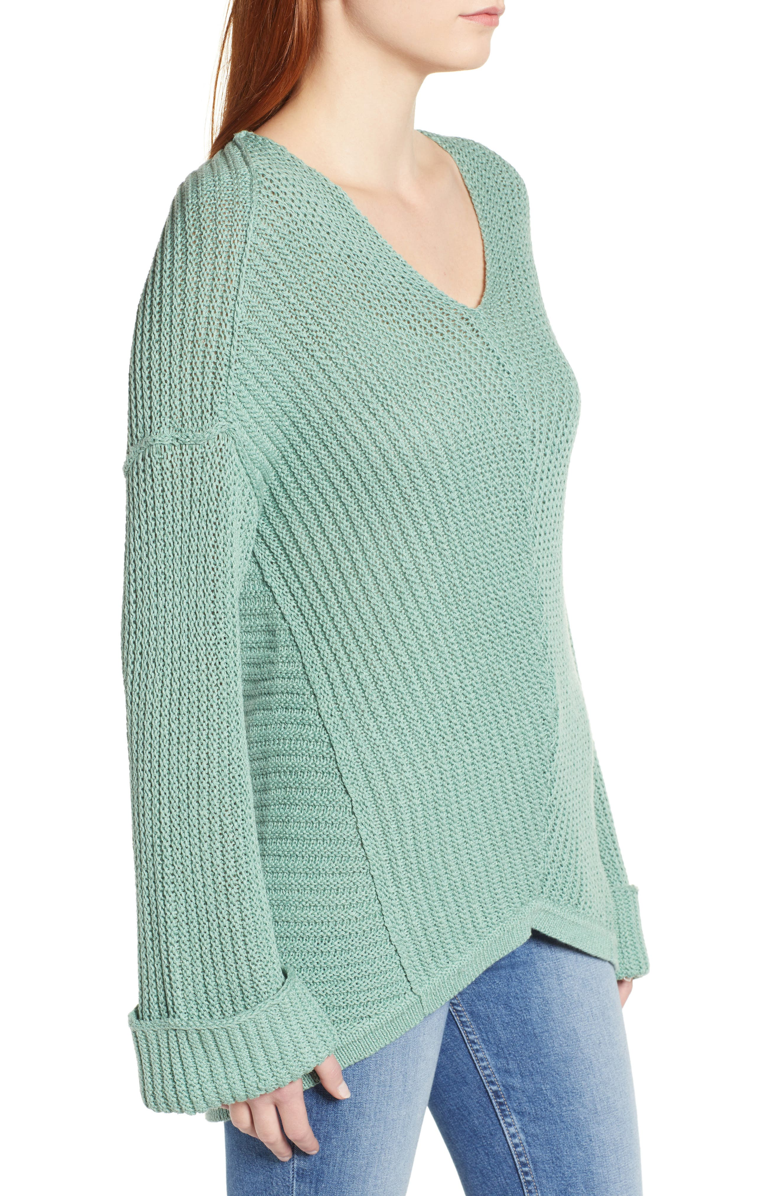 CASLON<SUP>®</SUP>,                             Cuffed Sleeve Sweater,                             Alternate thumbnail 3, color,                             GREEN WING