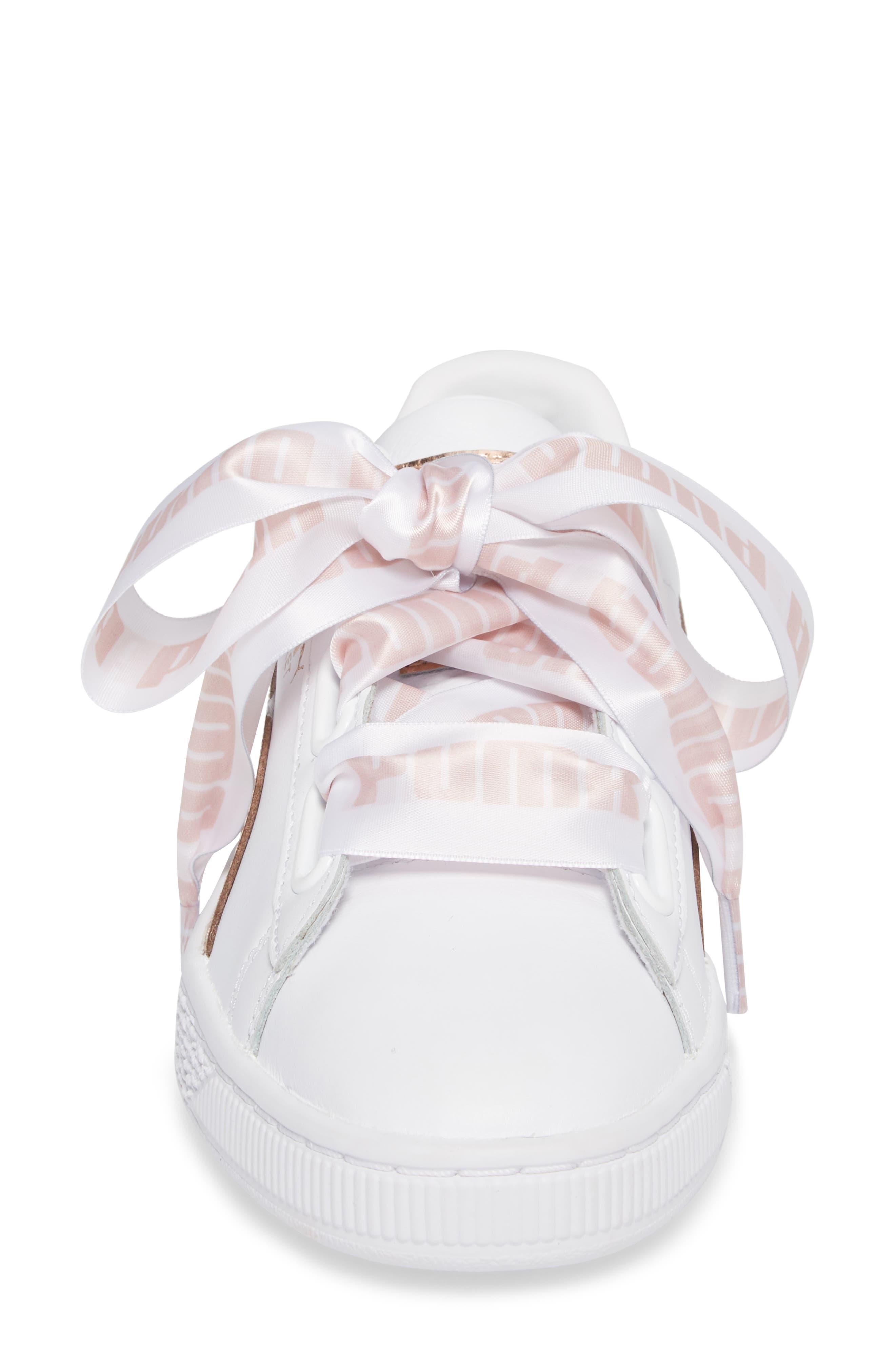 Basket Heart Sneaker,                             Alternate thumbnail 4, color,                             WHITE/ ROSE GOLD LEATHER