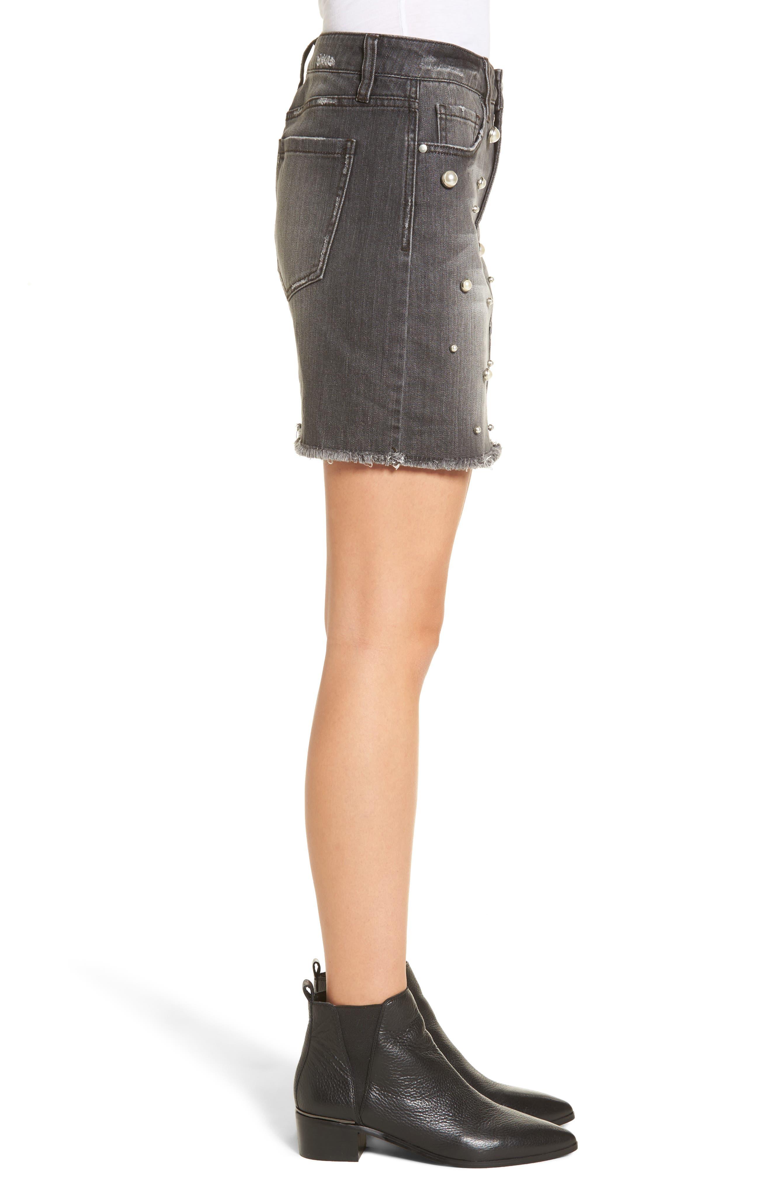 Imitation Pearl Detail Skirt,                             Alternate thumbnail 3, color,                             020
