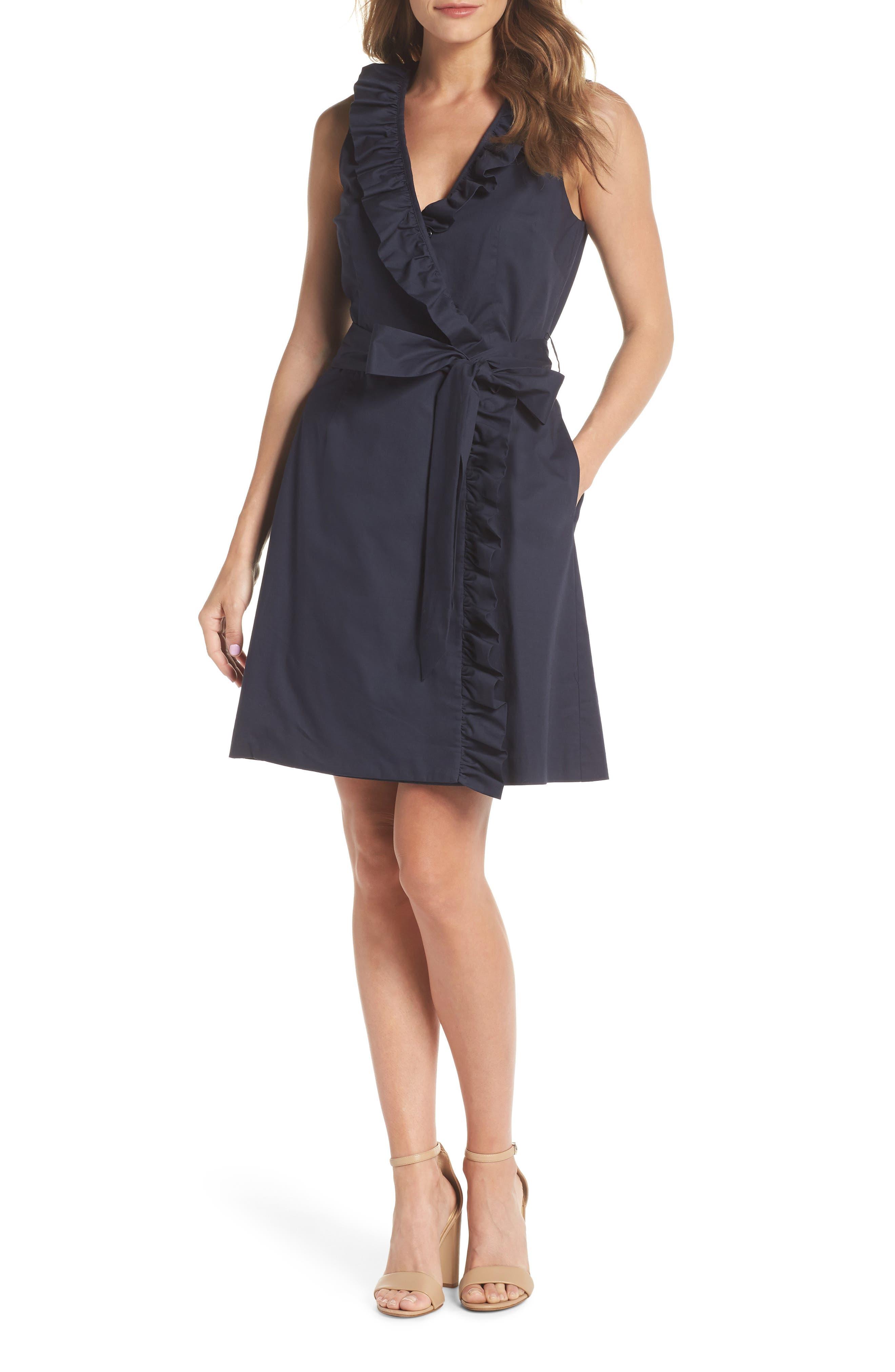 Ruffle Trim Poplin Wrap Dress,                             Main thumbnail 1, color,                             410