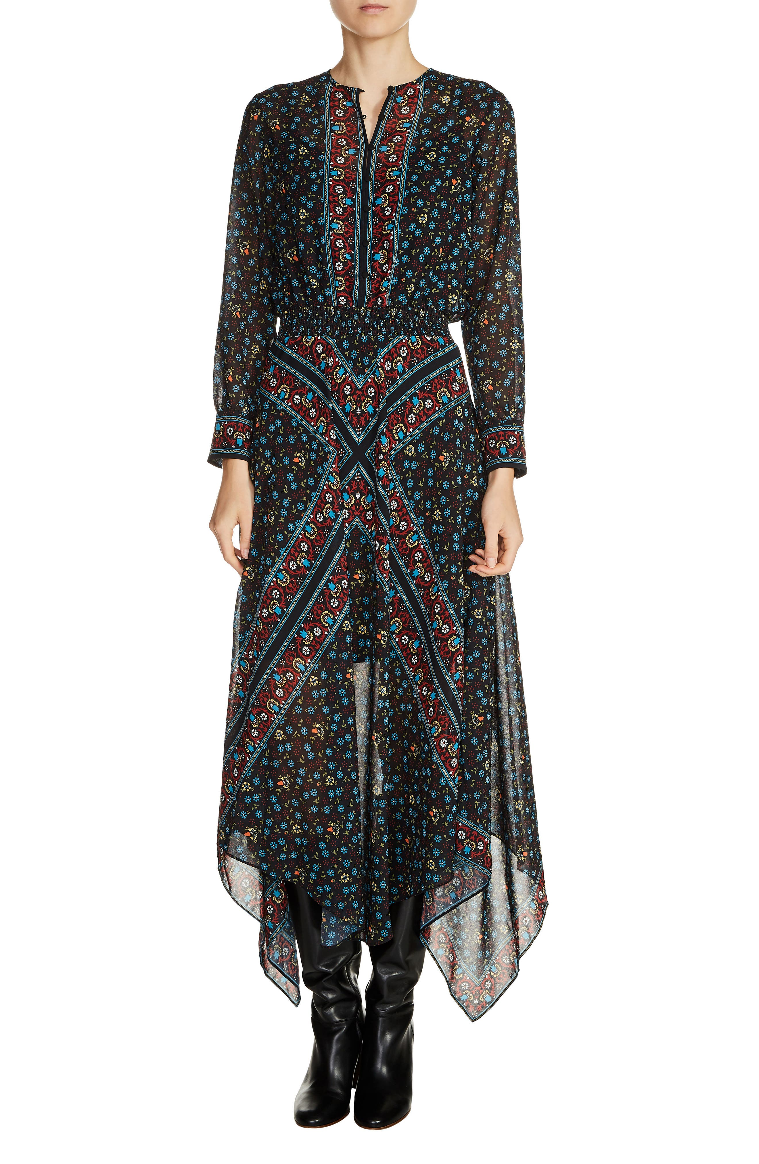 Print Handkerchief Hem Dress,                         Main,                         color, 020