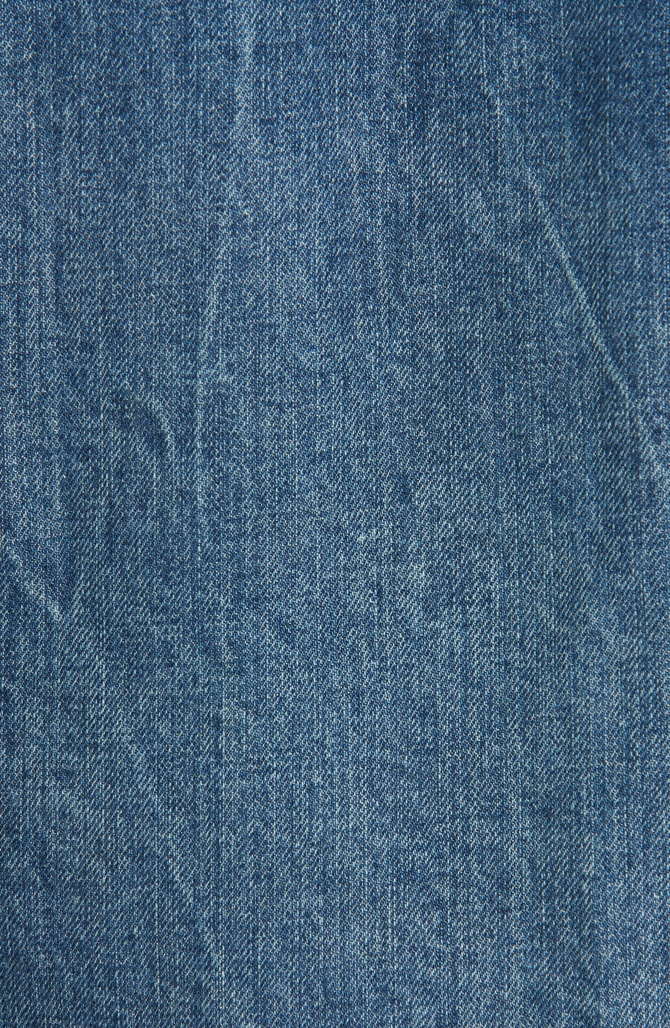 Zip Nico Denim & Leather Jacket,                             Alternate thumbnail 6, color,                             INDIGO