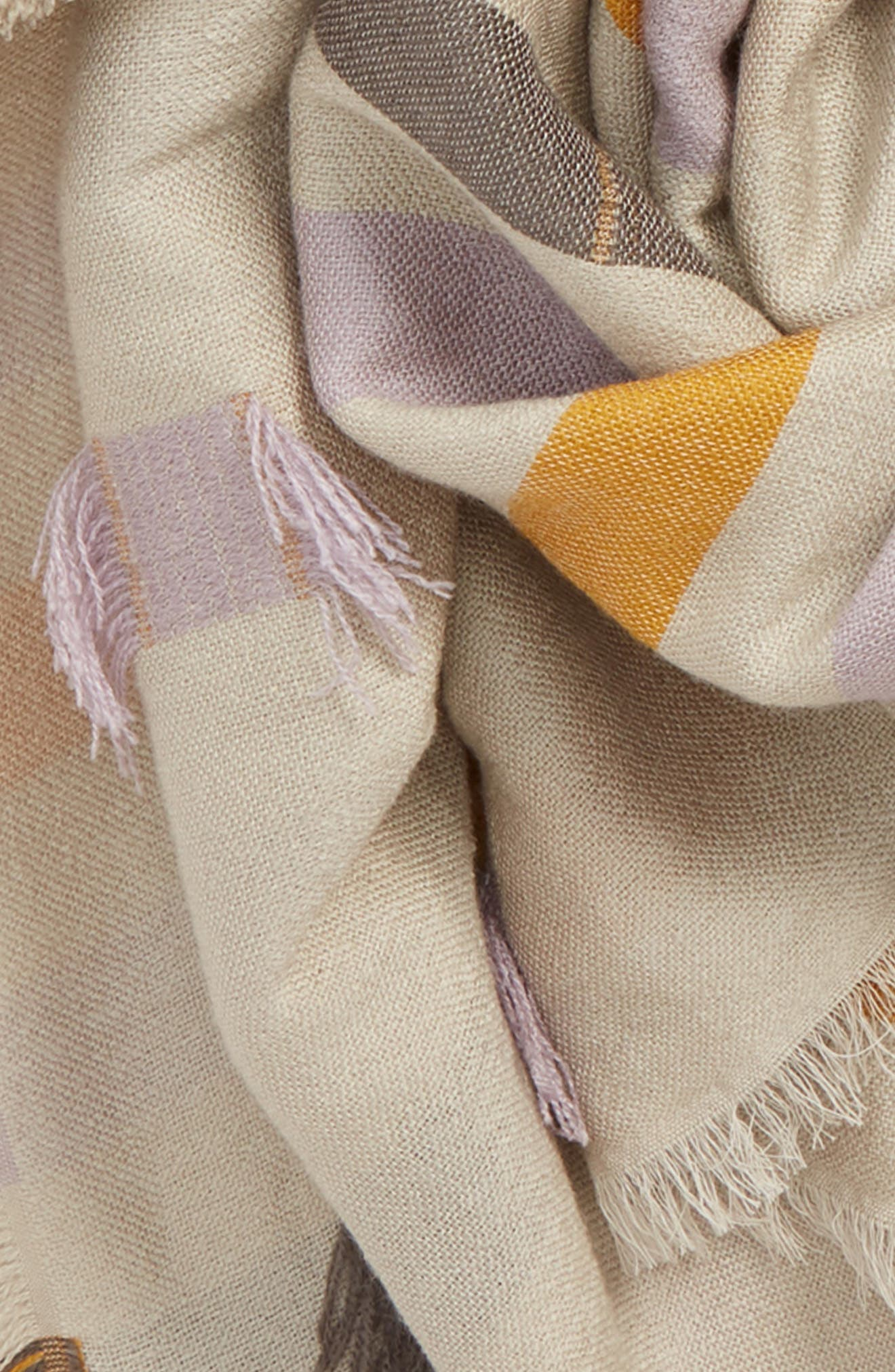Fringe Stripe Jacquard Scarf,                             Alternate thumbnail 4, color,                             700