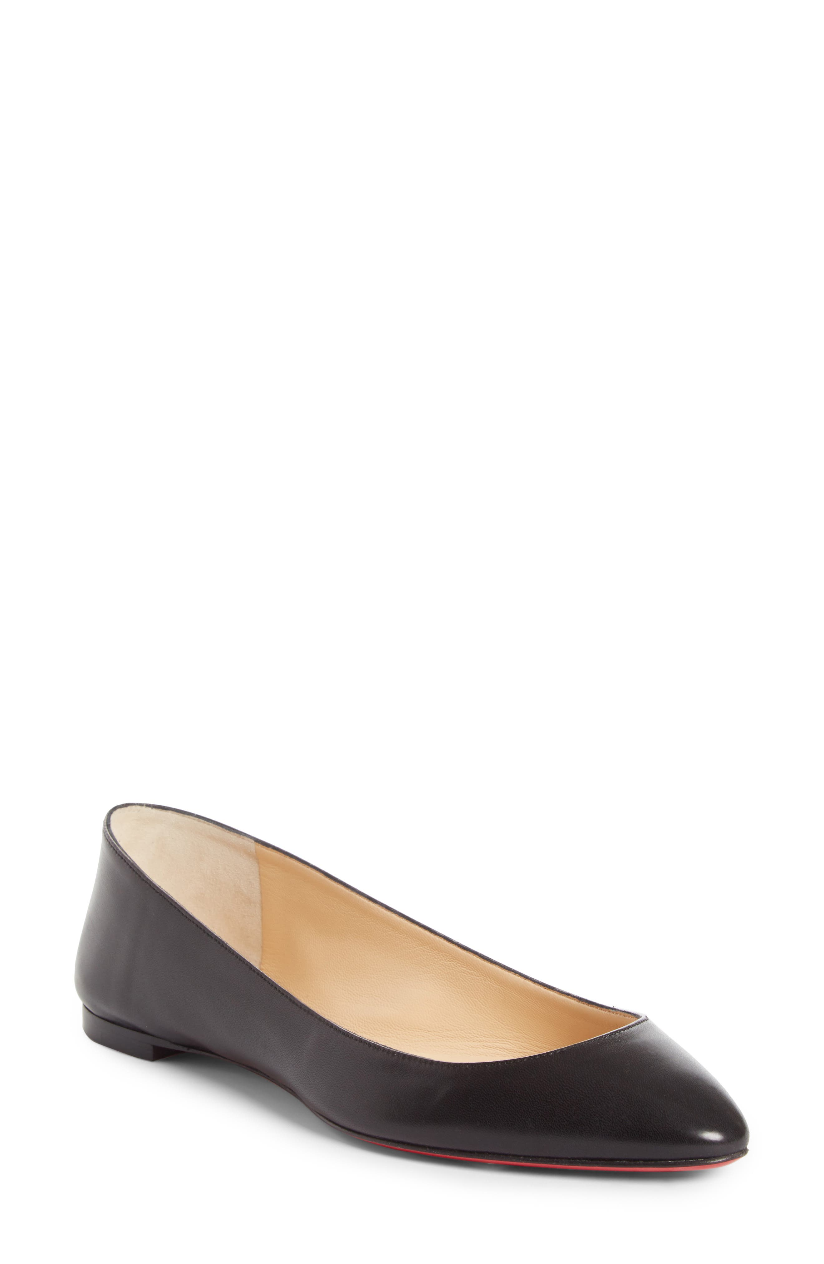 Eloise Flat,                             Main thumbnail 1, color,                             BLACK LEATHER