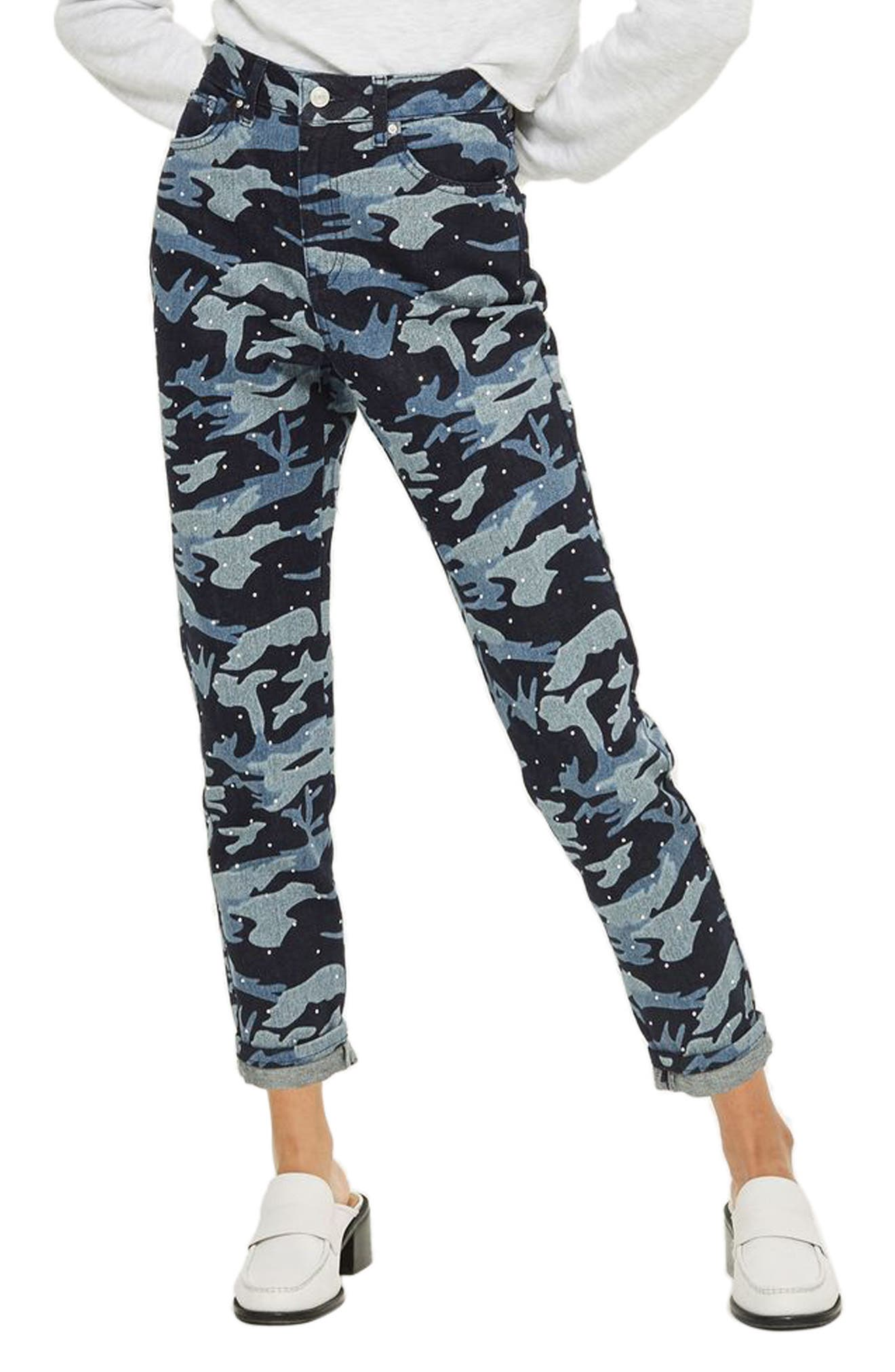TOPSHOP,                             Camo Diamante Mom Jeans,                             Main thumbnail 1, color,                             402