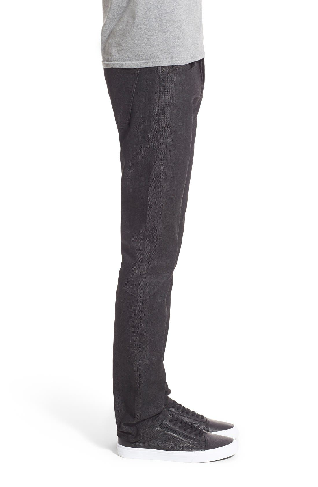 Naked & Famous Super Skinny Guy Skinny Fit Stretch Jeans,                             Alternate thumbnail 4, color,                             BLACK X GREY