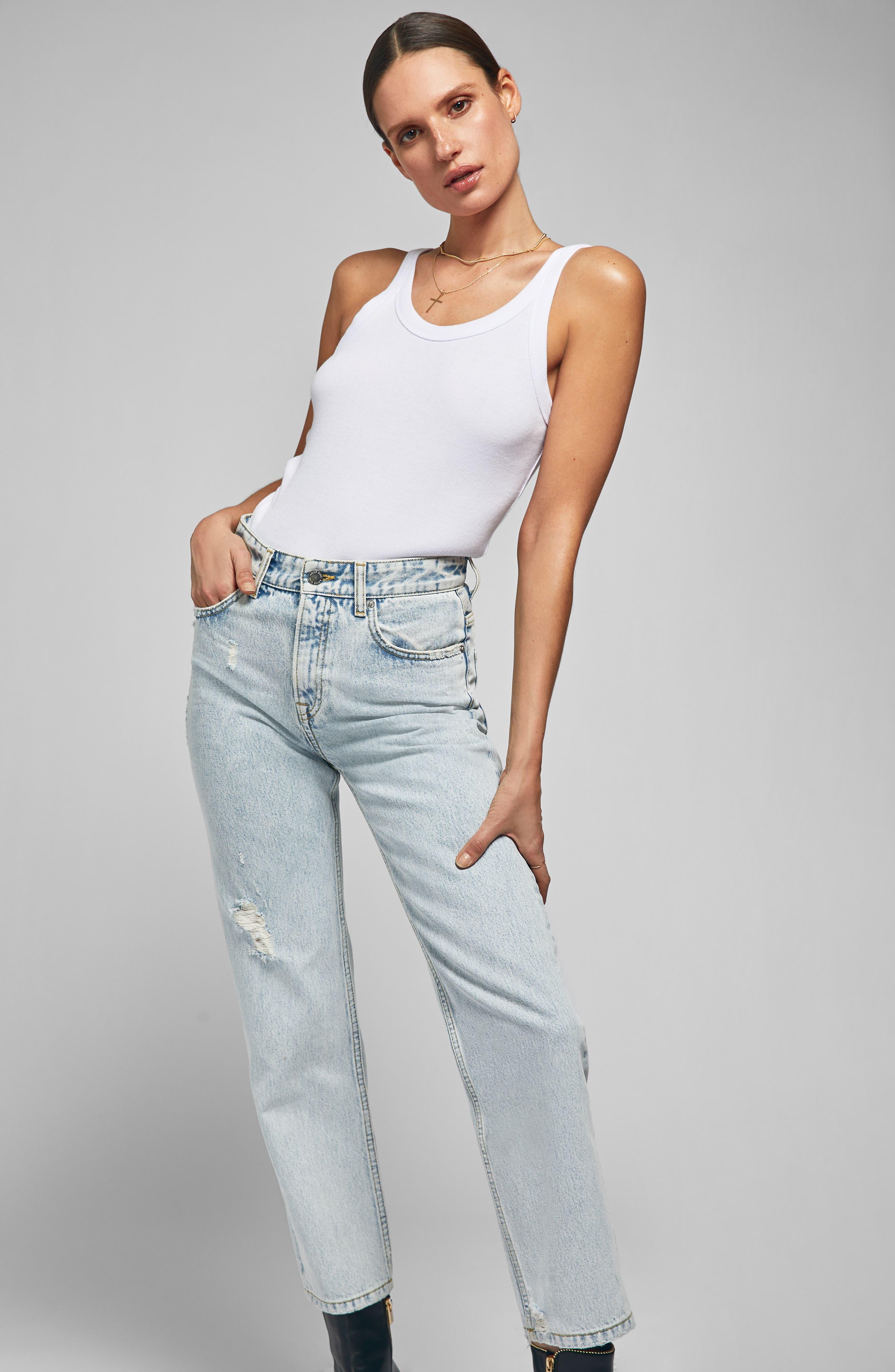 Etta Straight Leg Jeans,                             Alternate thumbnail 6, color,                             LIGHT BLUE