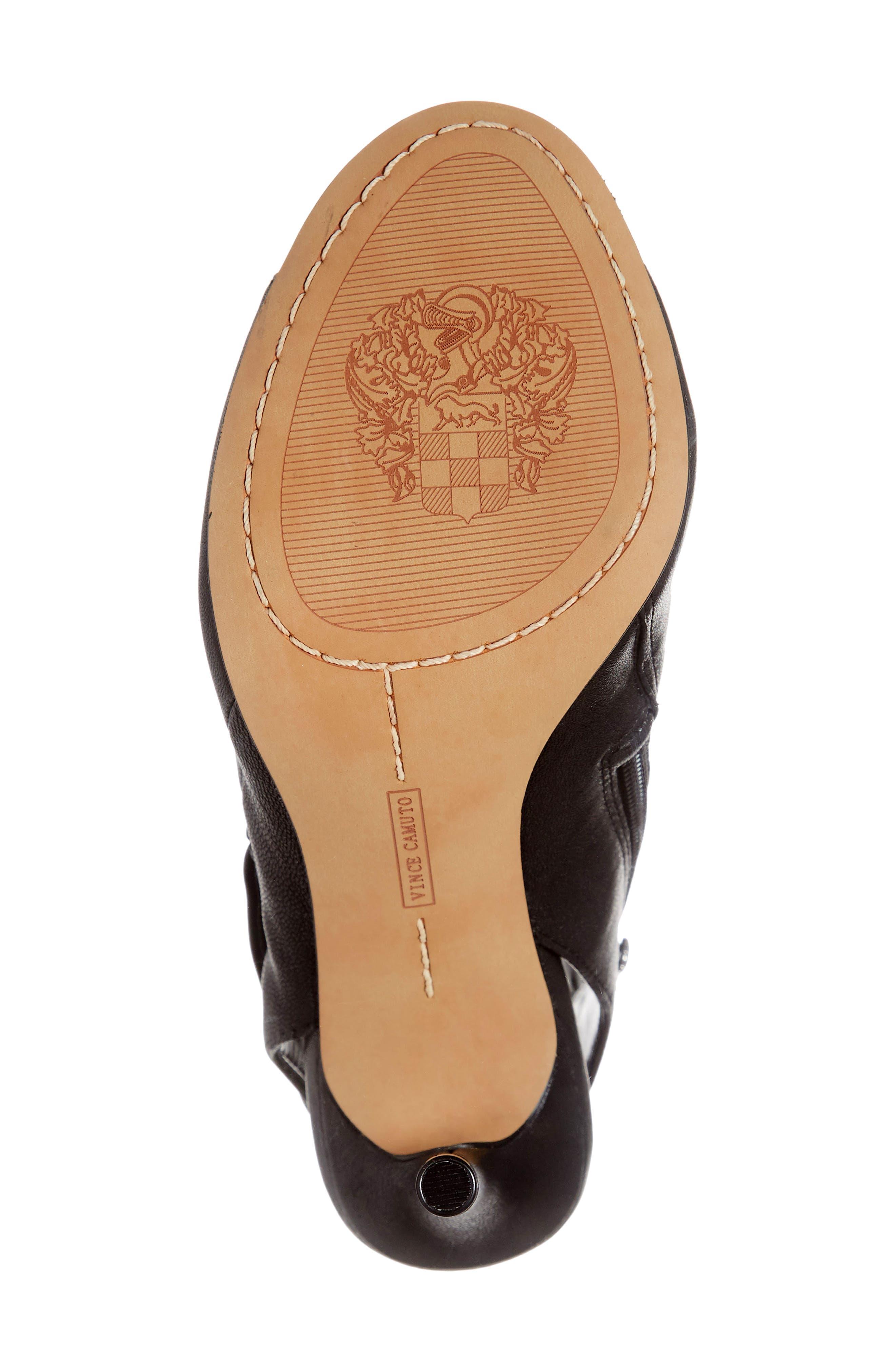 Cholia Asymmetrical Sandal Bootie,                             Alternate thumbnail 6, color,                             BLACK LEATHER