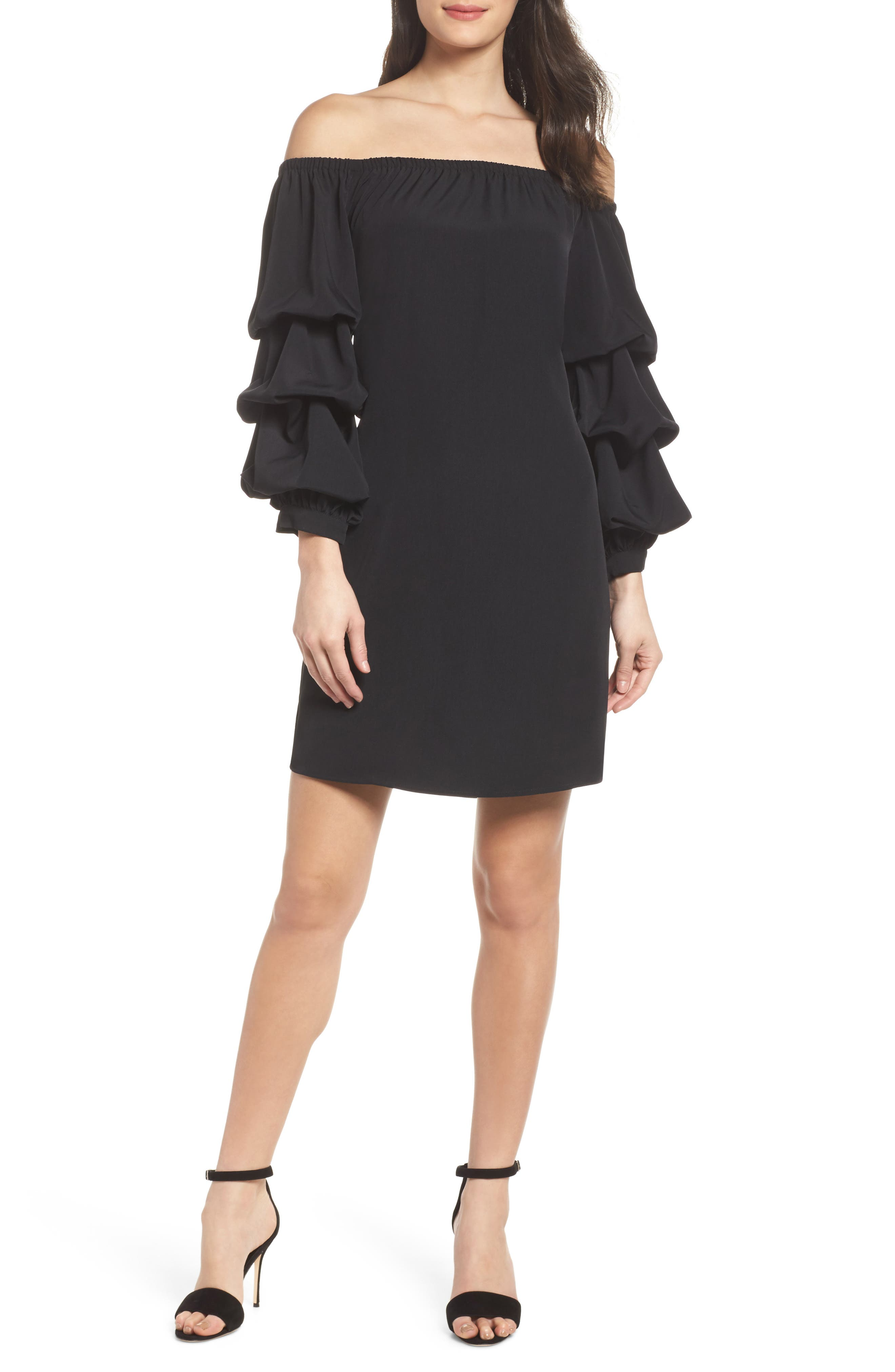 Off the Shoulder Tiered Sleeve Dress,                             Alternate thumbnail 5, color,                             002
