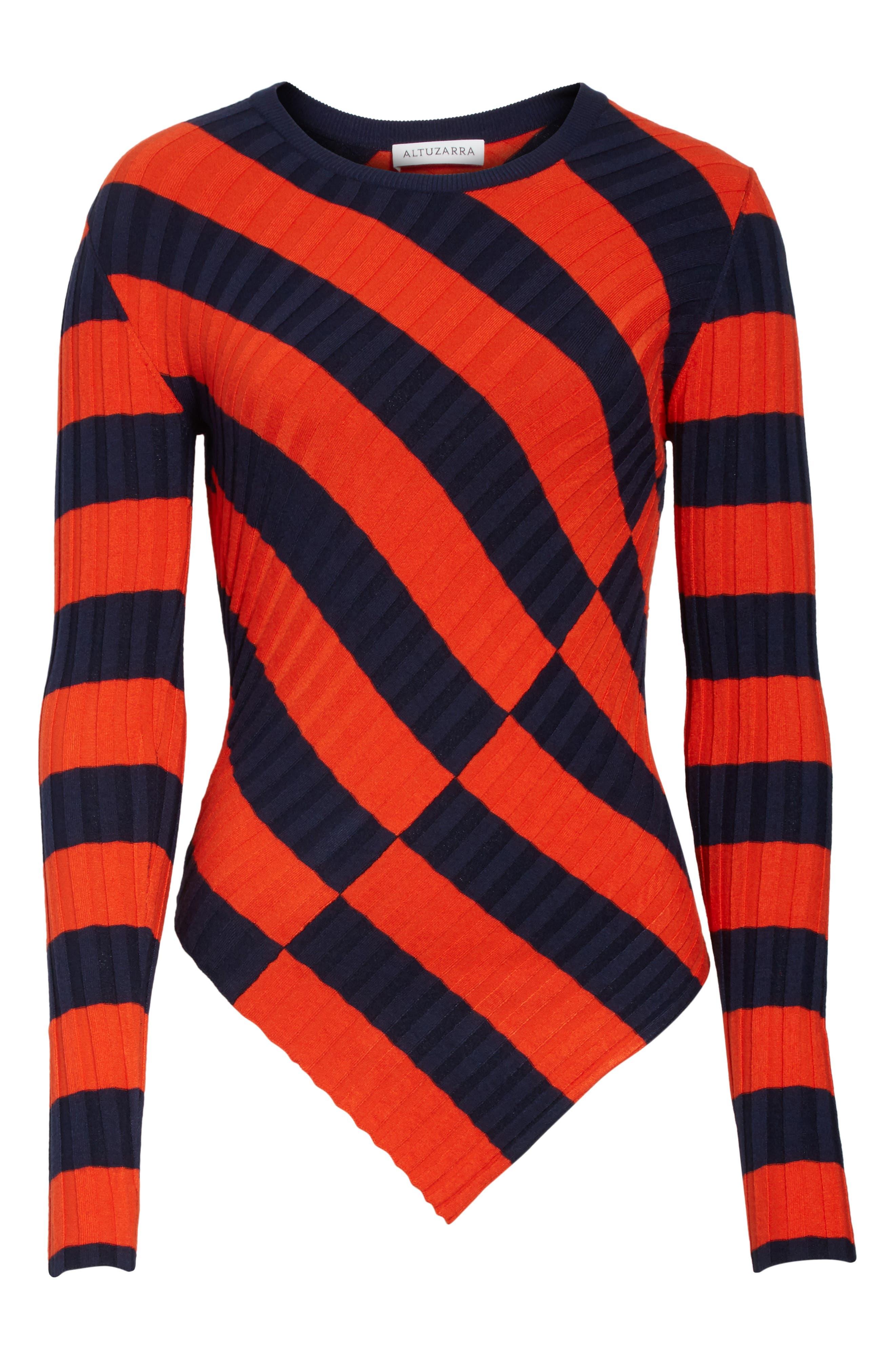 Asymmetrical Stripe Sweater,                             Alternate thumbnail 6, color,                             830