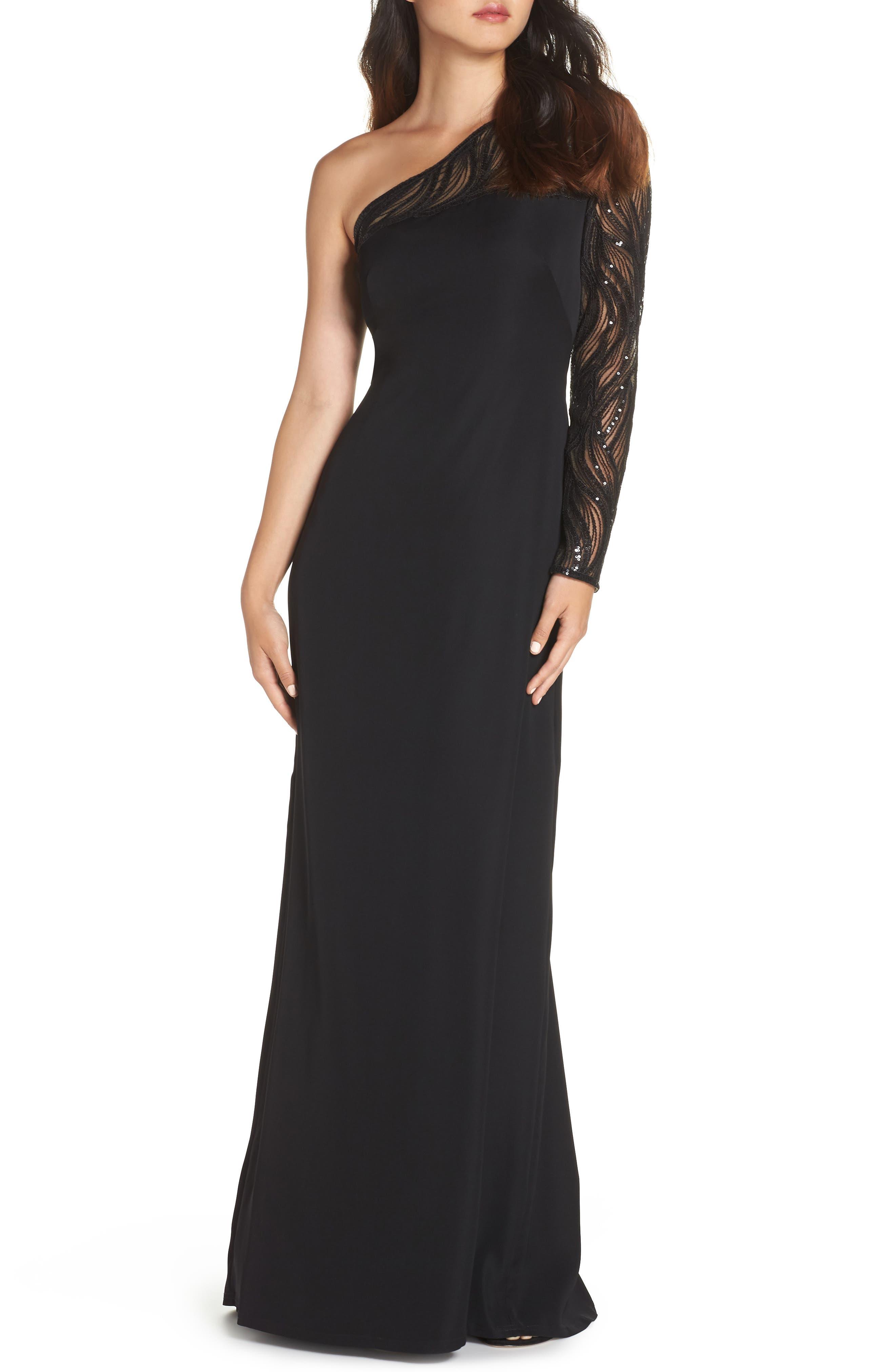 One-Shoulder Crepe Gown,                         Main,                         color, BLACK/ NUDE