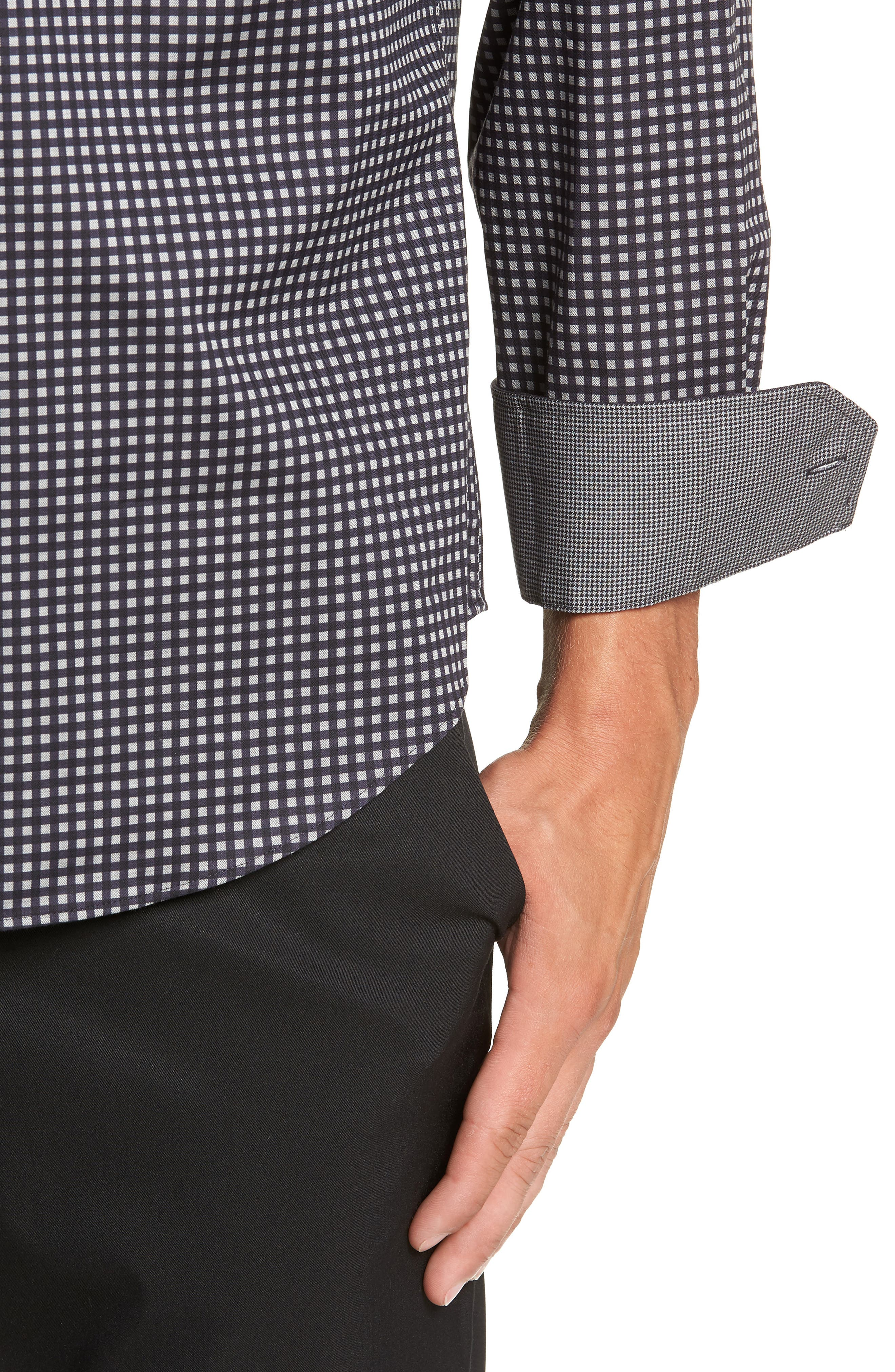 Classic Fit Print Sport Shirt,                             Alternate thumbnail 2, color,                             BLACK
