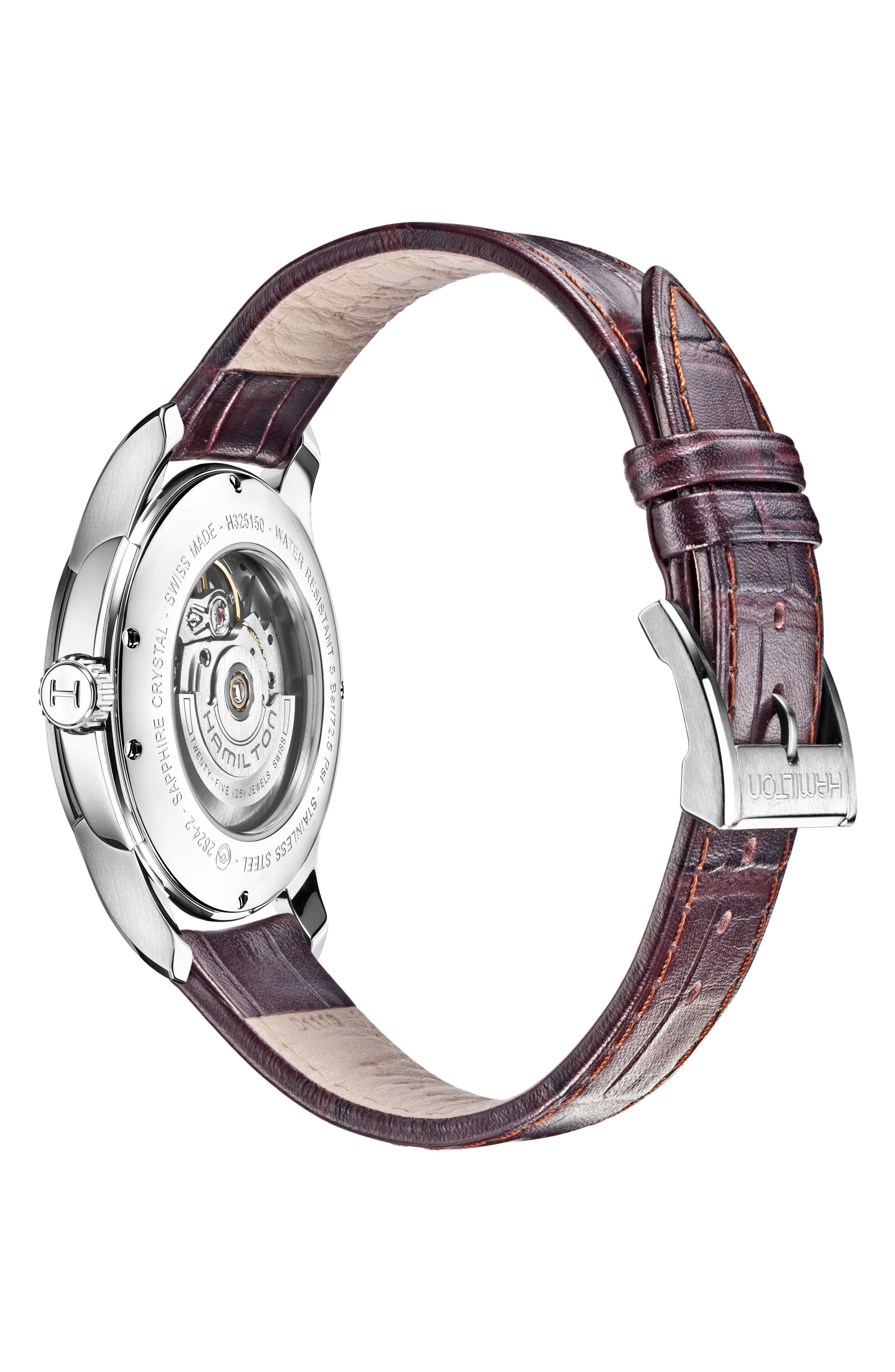 Jazzmaster Open Heart Automatic Leather Strap Watch, 40mm,                             Alternate thumbnail 2, color,                             BROWN/ SILVER
