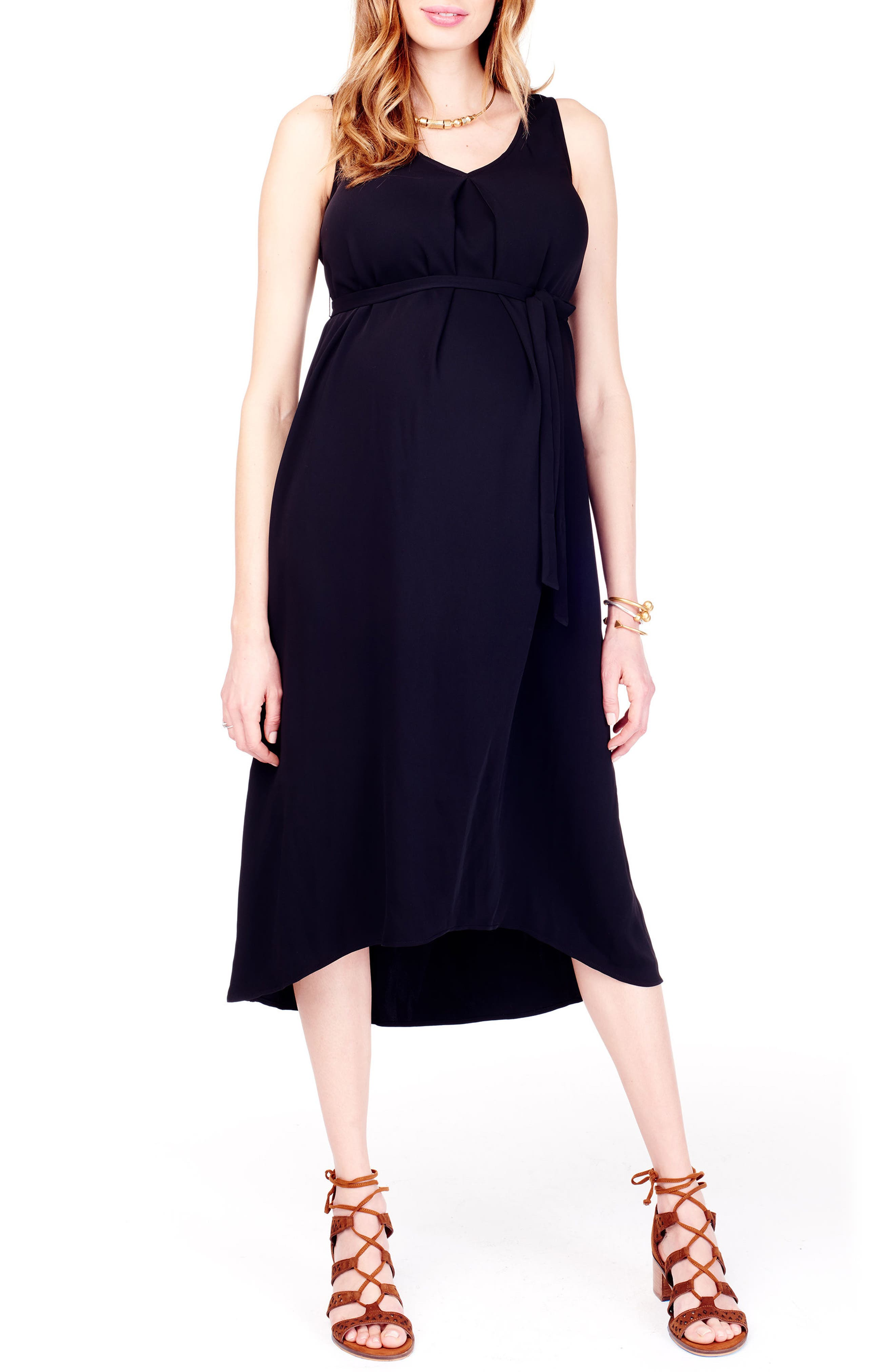 High/Low Maternity Dress,                             Main thumbnail 1, color,                             JET BLACK