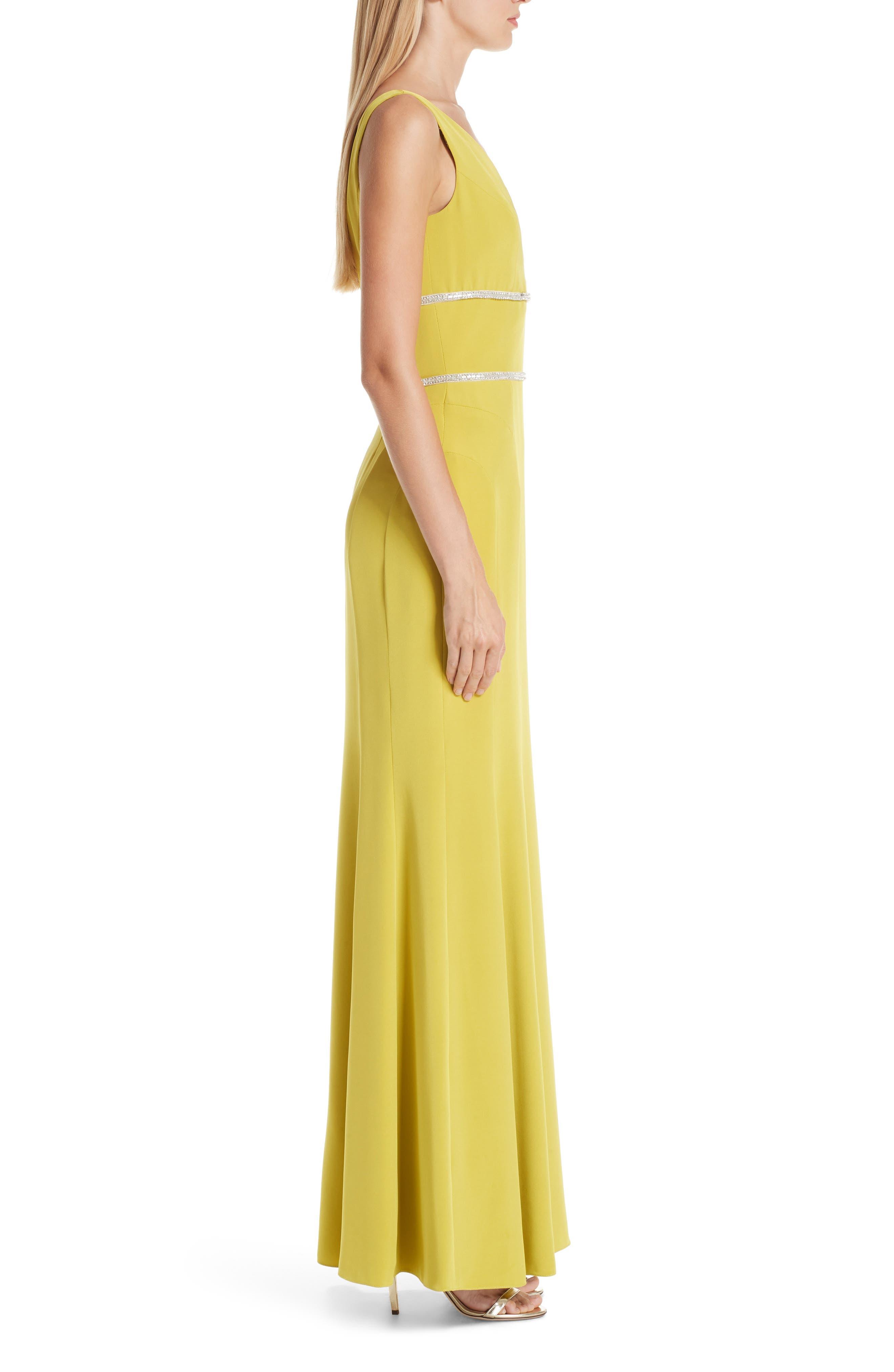 VERDIN,                             Embellished Silk V-Neck Evening Dress,                             Alternate thumbnail 3, color,                             CITRUS