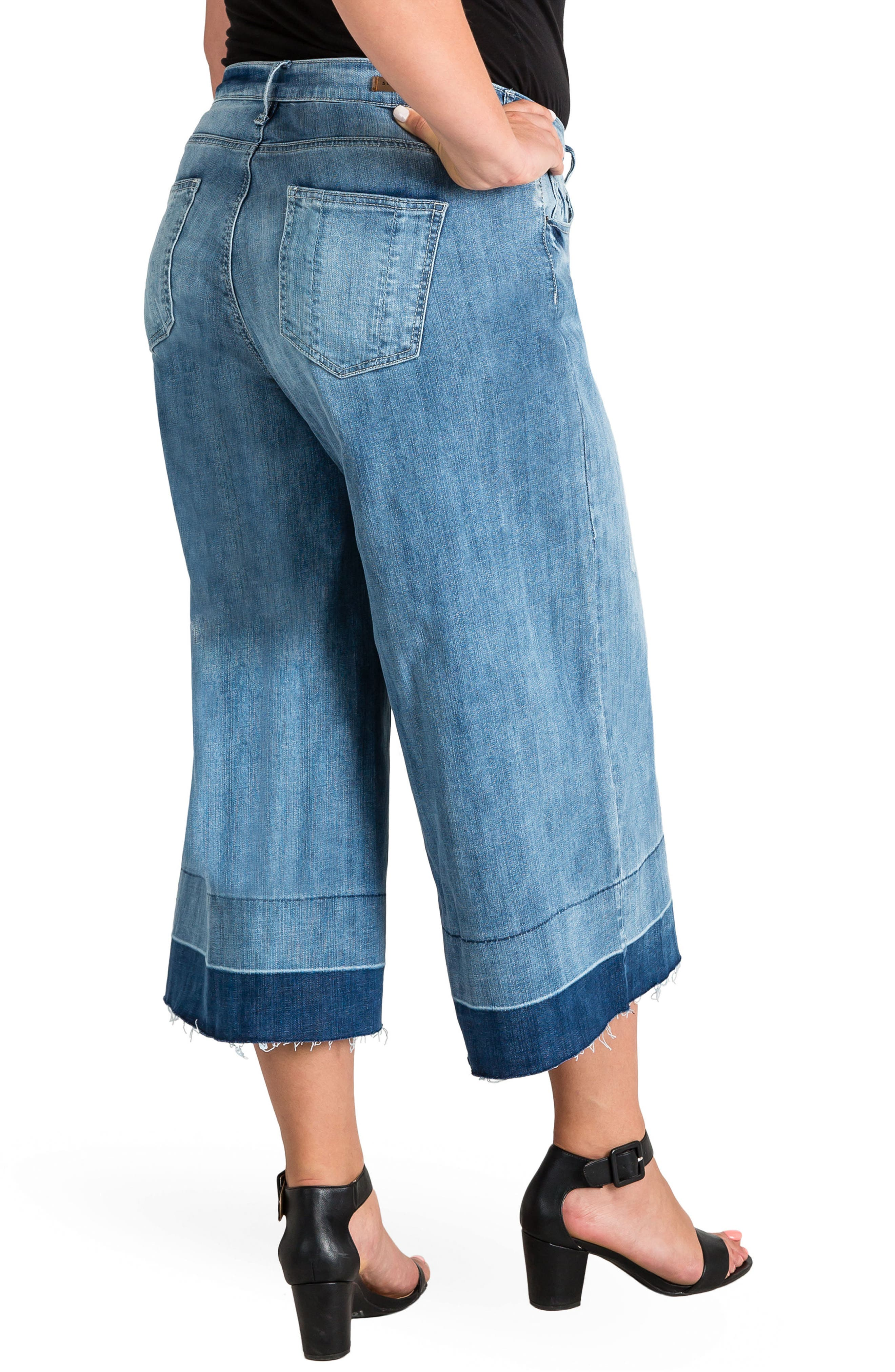 Release Hem Denim Culottes,                             Alternate thumbnail 2, color,                             SPRUCE