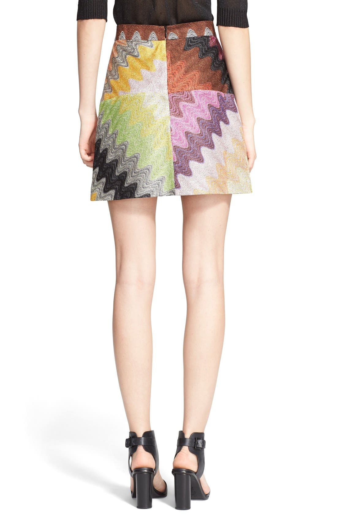 Multicolor Wave Stitch Miniskirt,                             Alternate thumbnail 2, color,