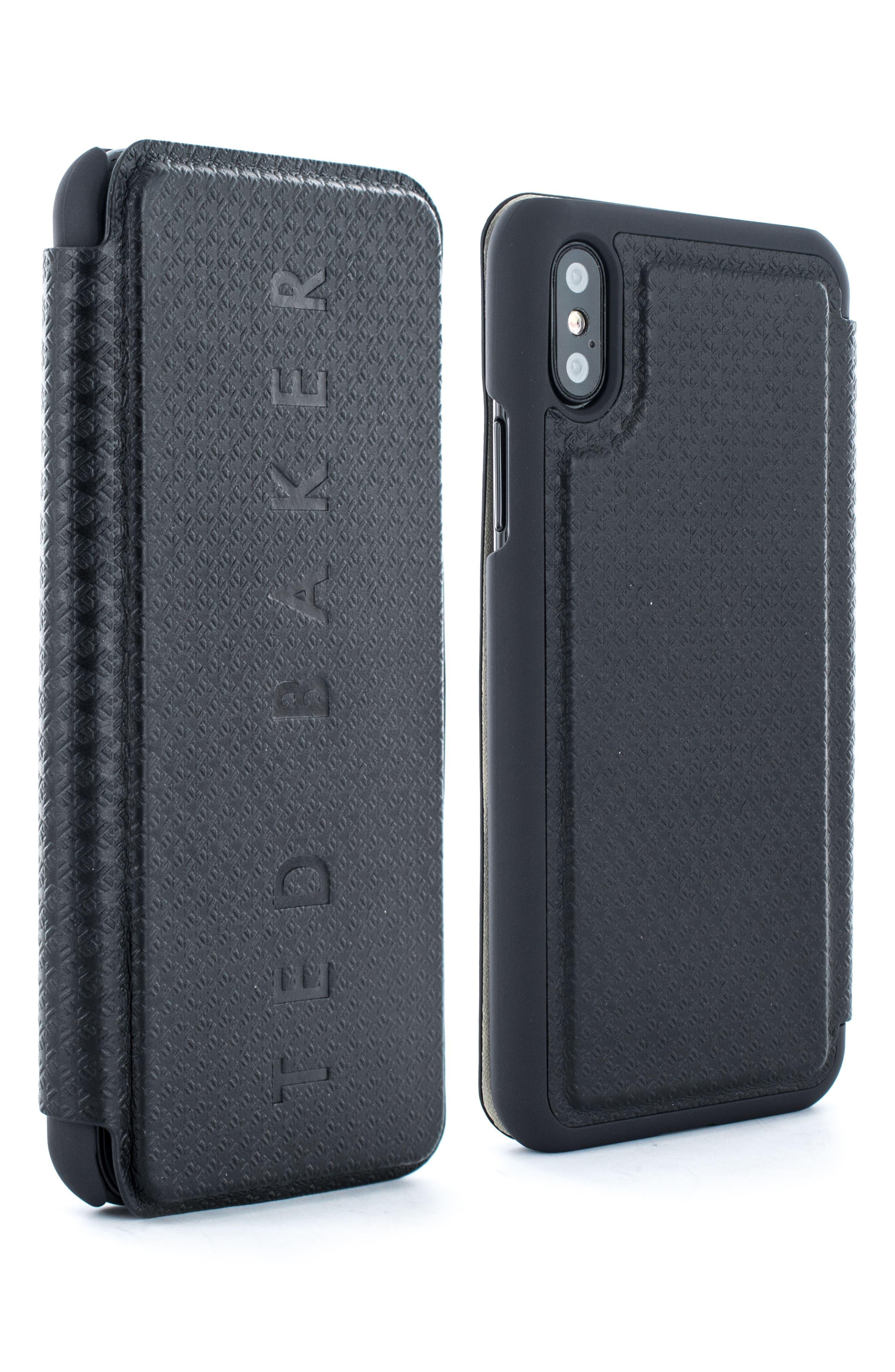 TED BAKER LONDON,                             Bhait Faux Leather iPhone X & Xs Folio Case,                             Main thumbnail 1, color,                             BLACK