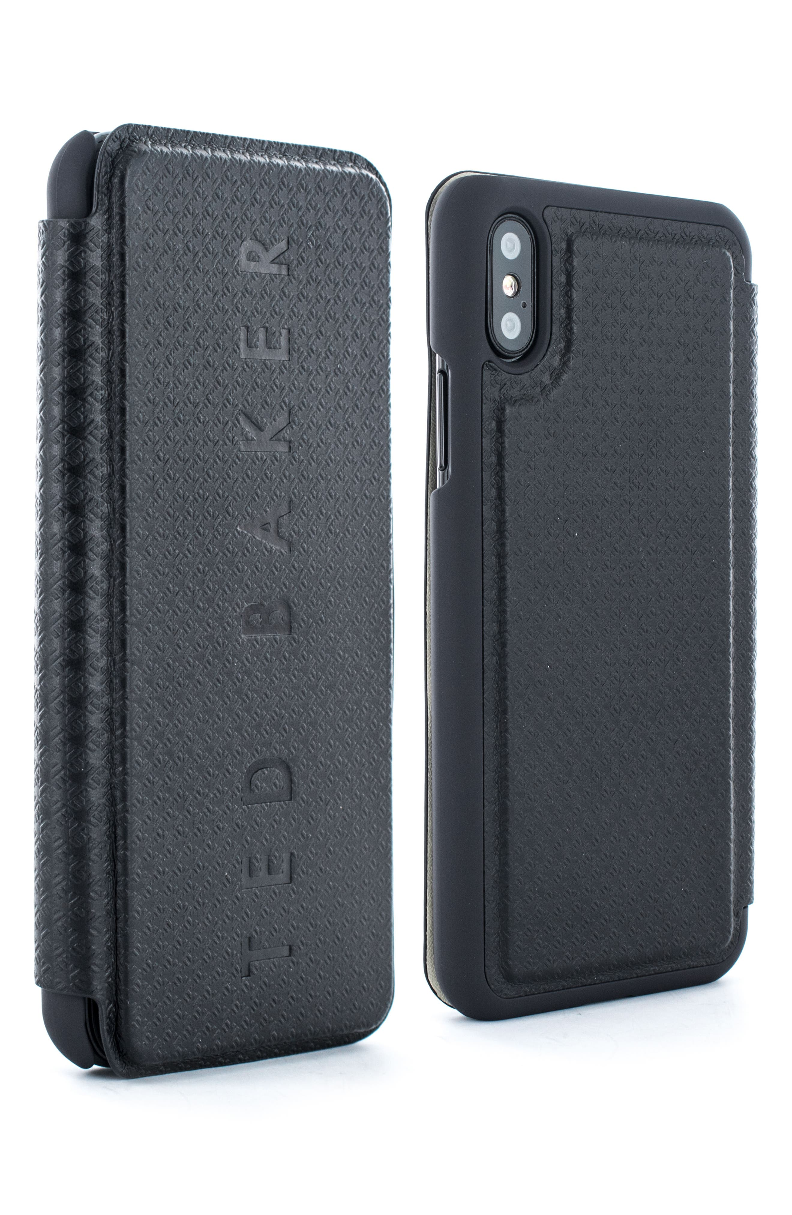 TED BAKER LONDON Bhait Faux Leather iPhone X & Xs Folio Case, Main, color, BLACK