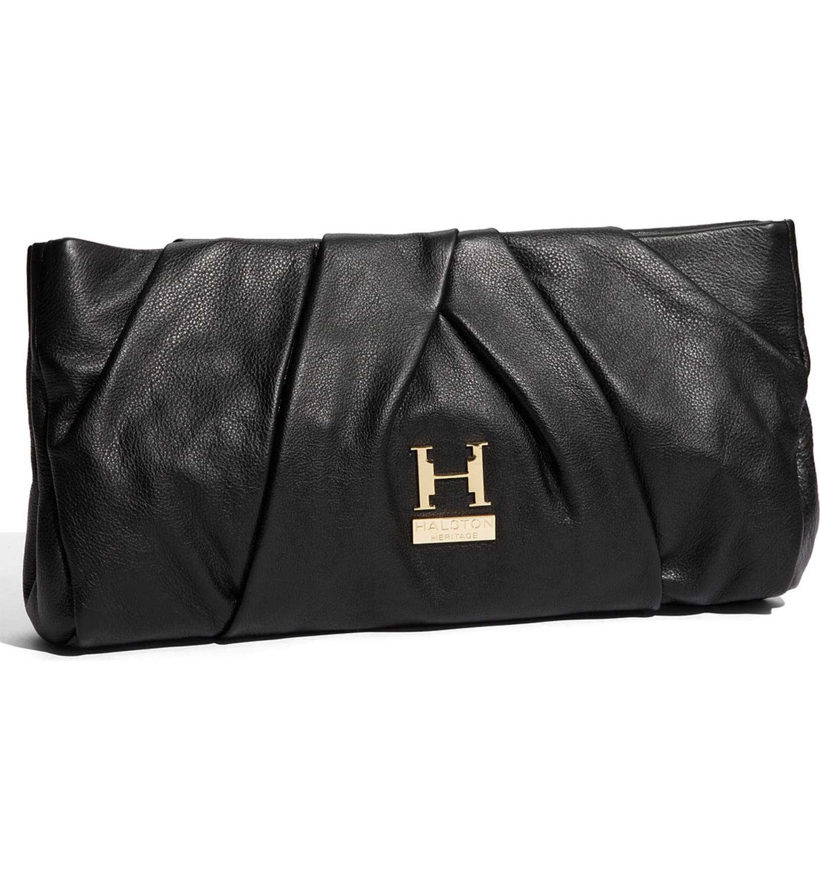 Halston Heritage  Alice  Pleated Leather Clutch  72af78d21520b