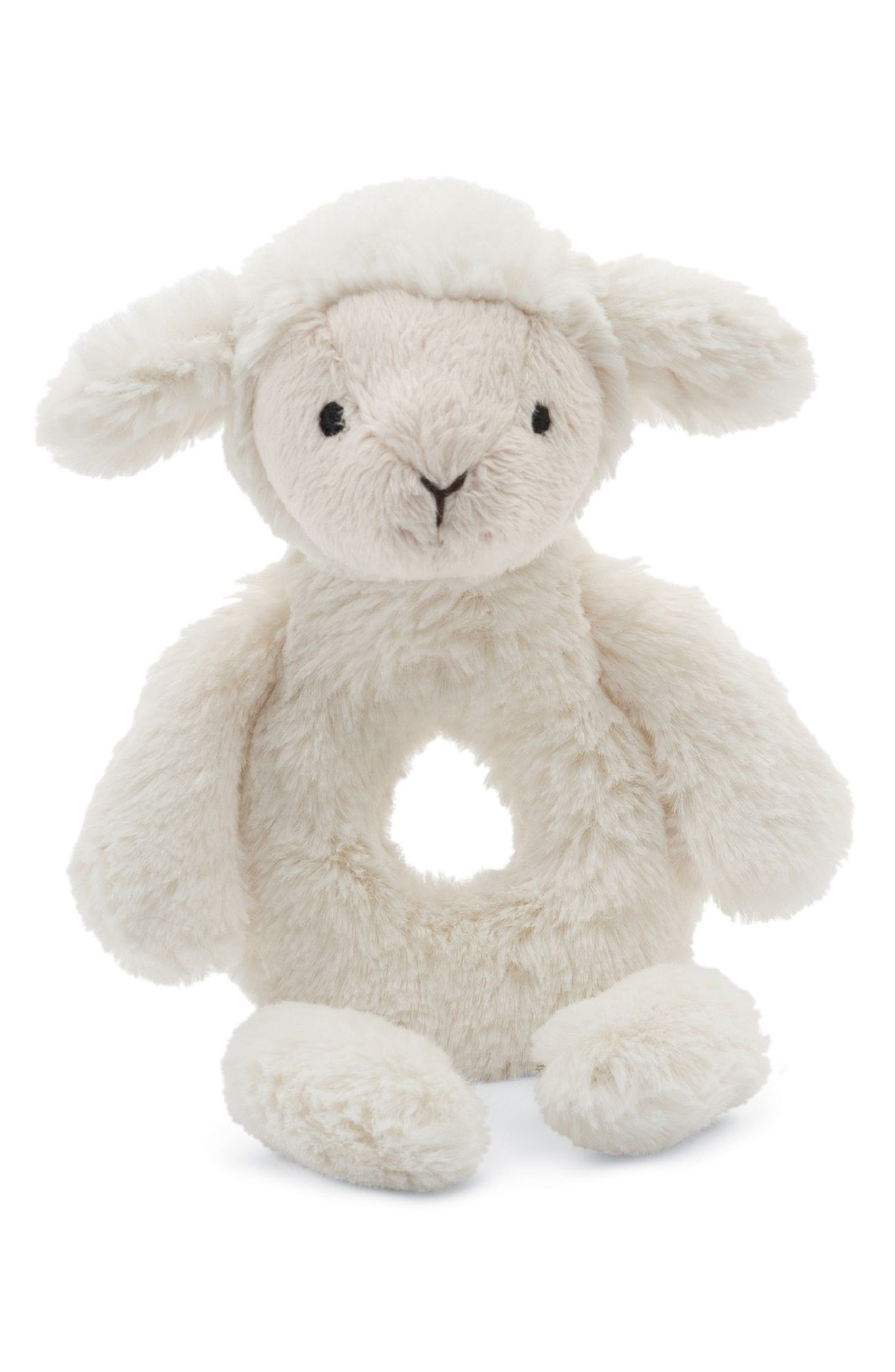 Bashful Lamb Grabber Rattle,                         Main,                         color,