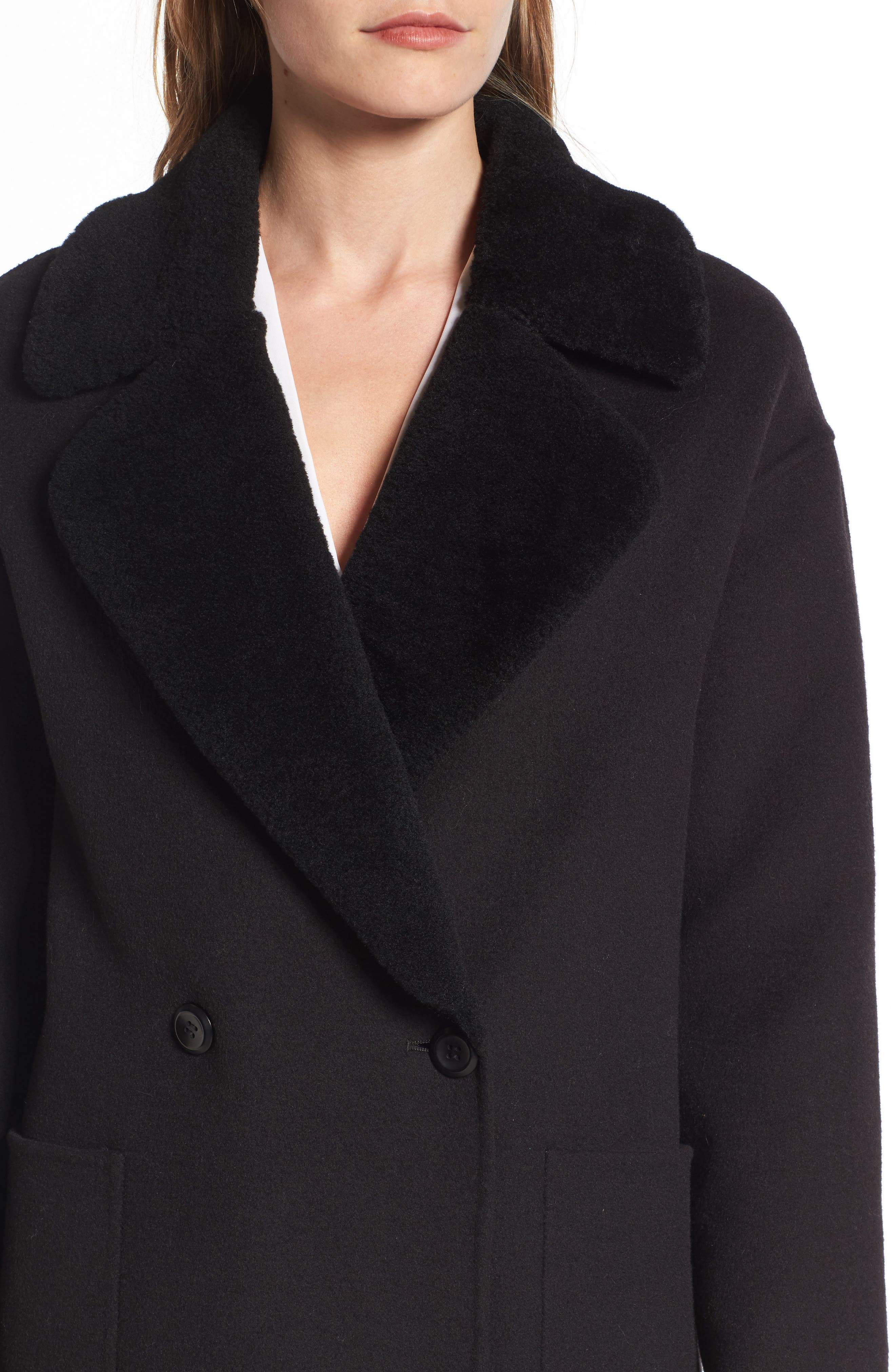 Dawn Genuine Shearling Collar Double Face Coat,                             Alternate thumbnail 4, color,                             001
