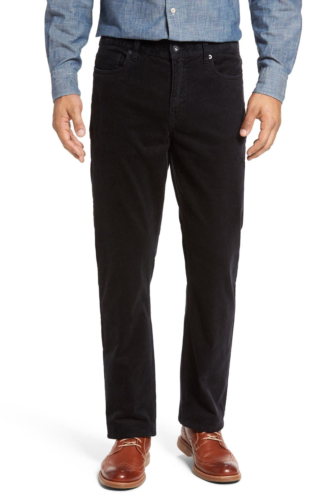 Greenwood Stretch Corduroy Pants,                         Main,                         color, BLACK