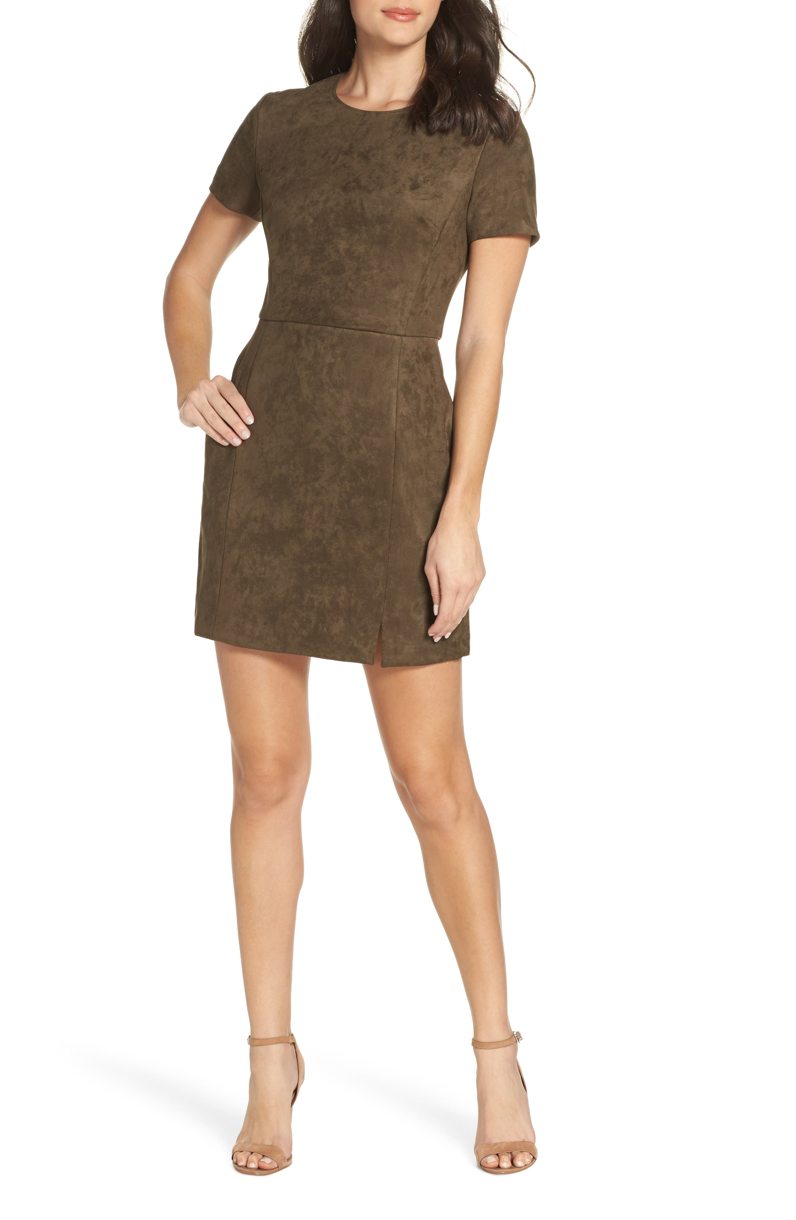 French Connection Short Sleeve Faux Suede Dress