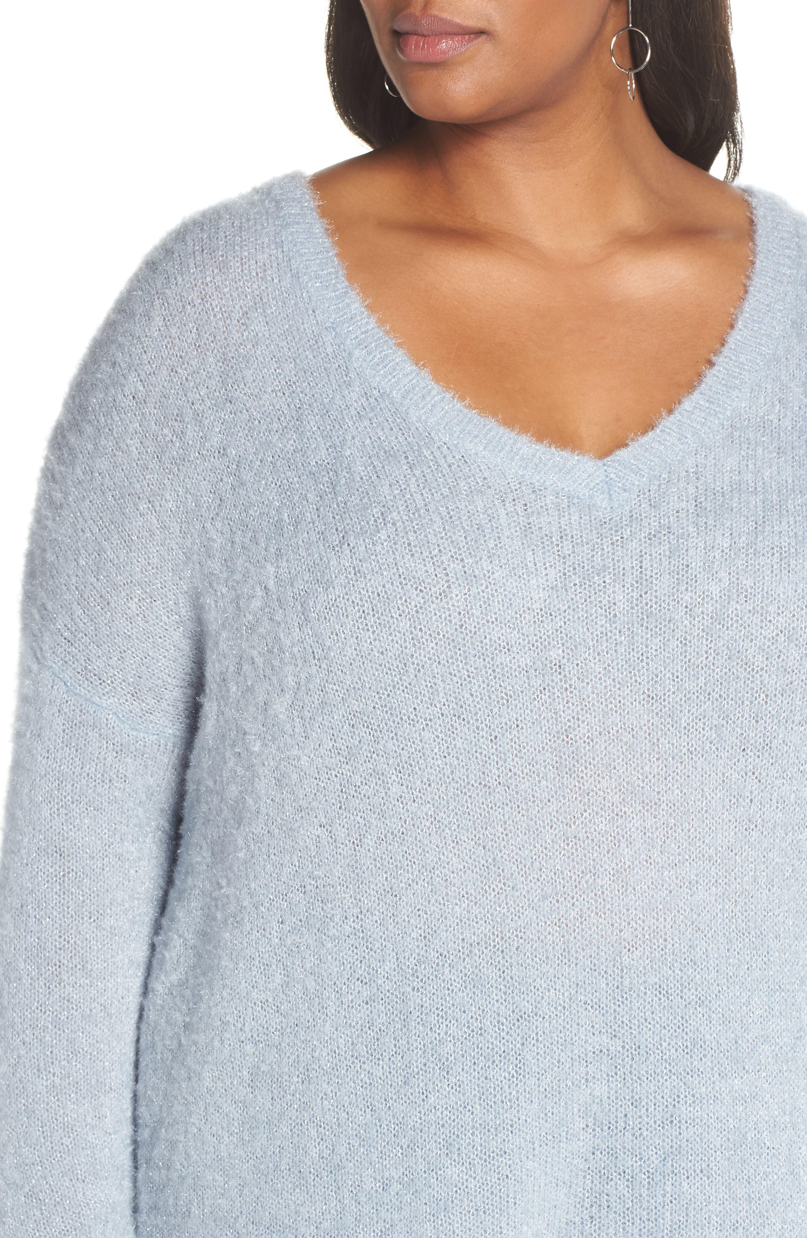 Fuzzy V-Neck Sweater,                             Alternate thumbnail 4, color,                             BLUE FOG