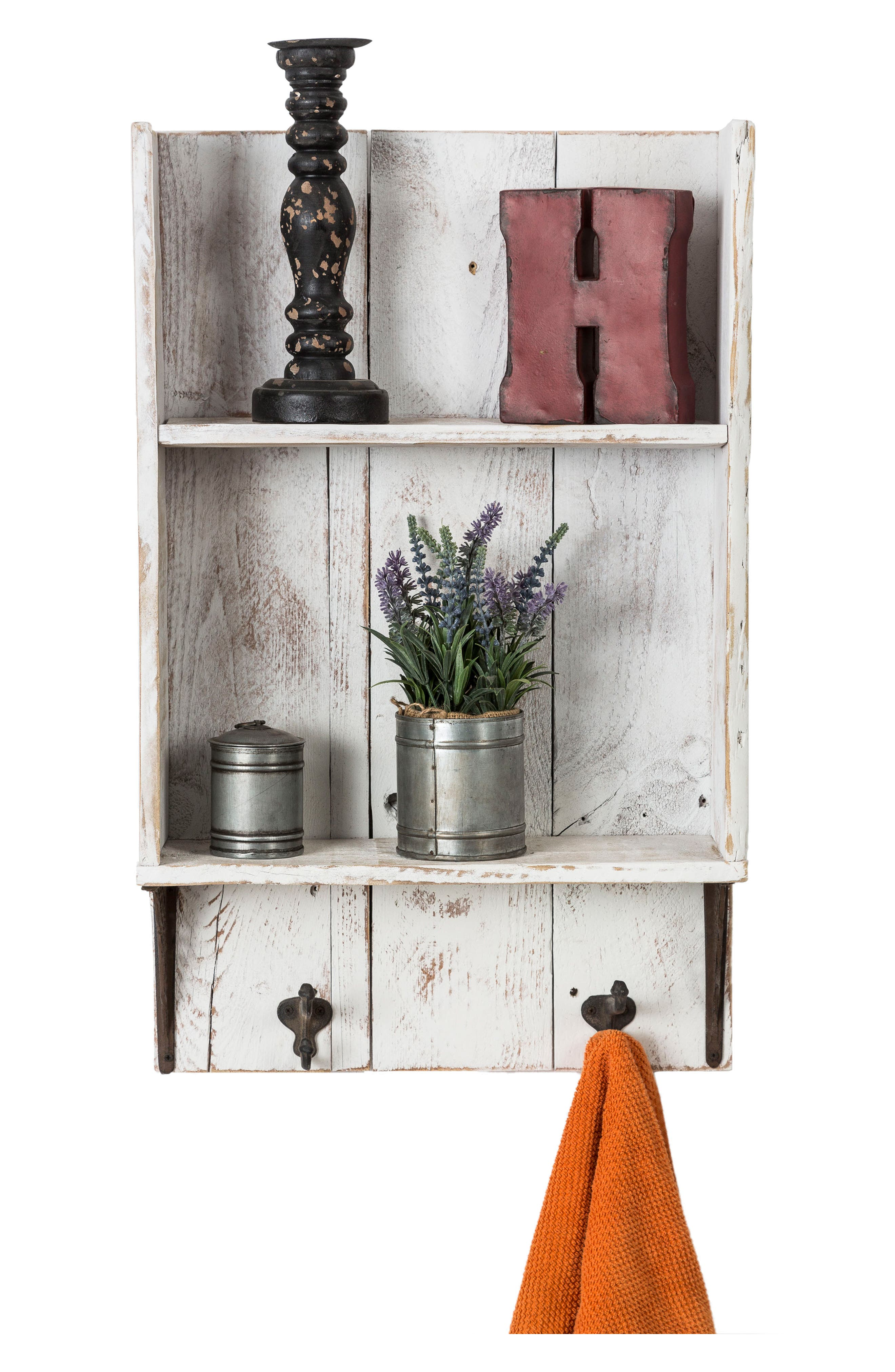 Reclaimed Wood Shelf with Hooks,                             Alternate thumbnail 4, color,                             100
