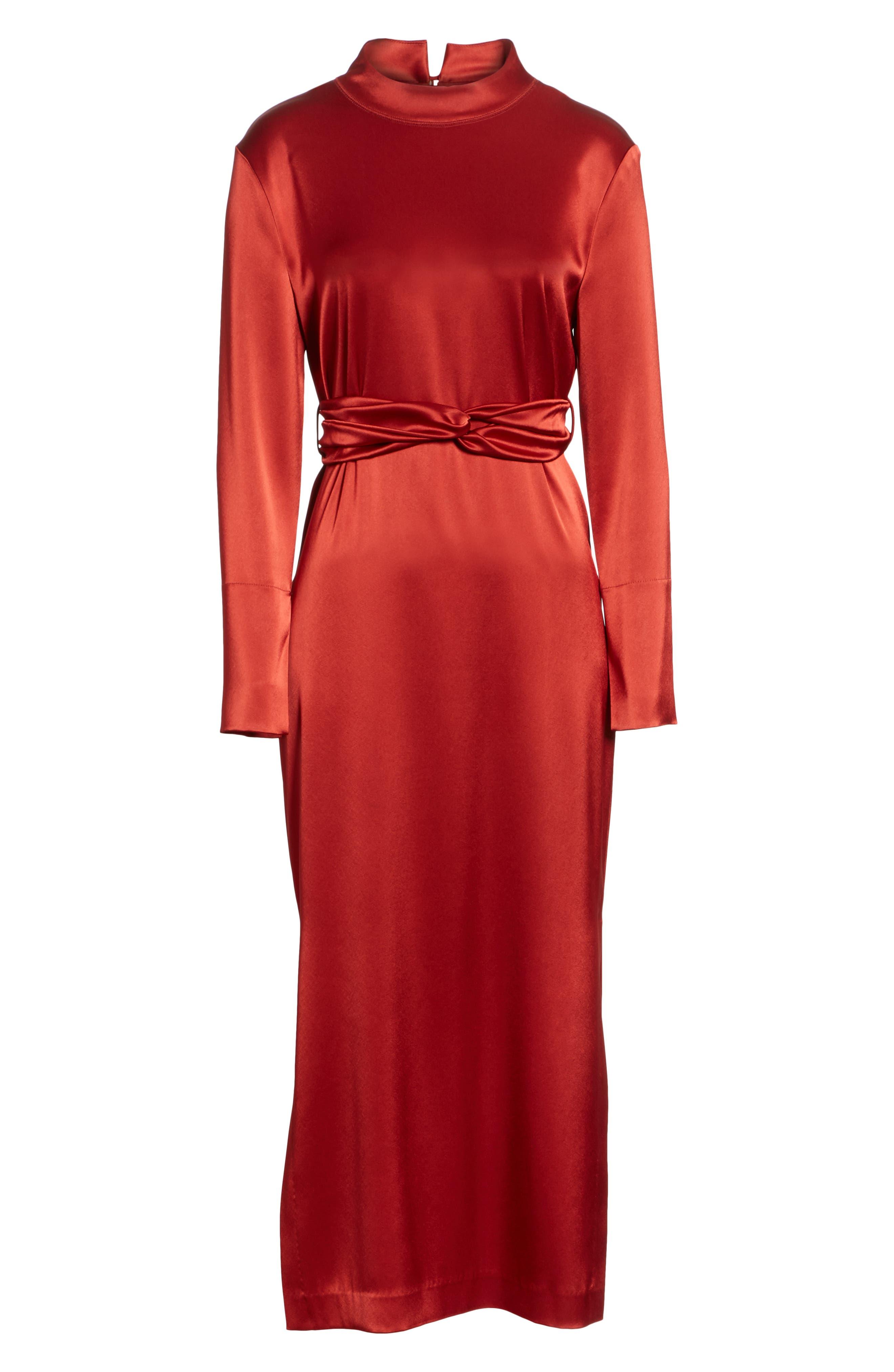 Sadie Belted Satin Dress,                             Alternate thumbnail 6, color,                             640