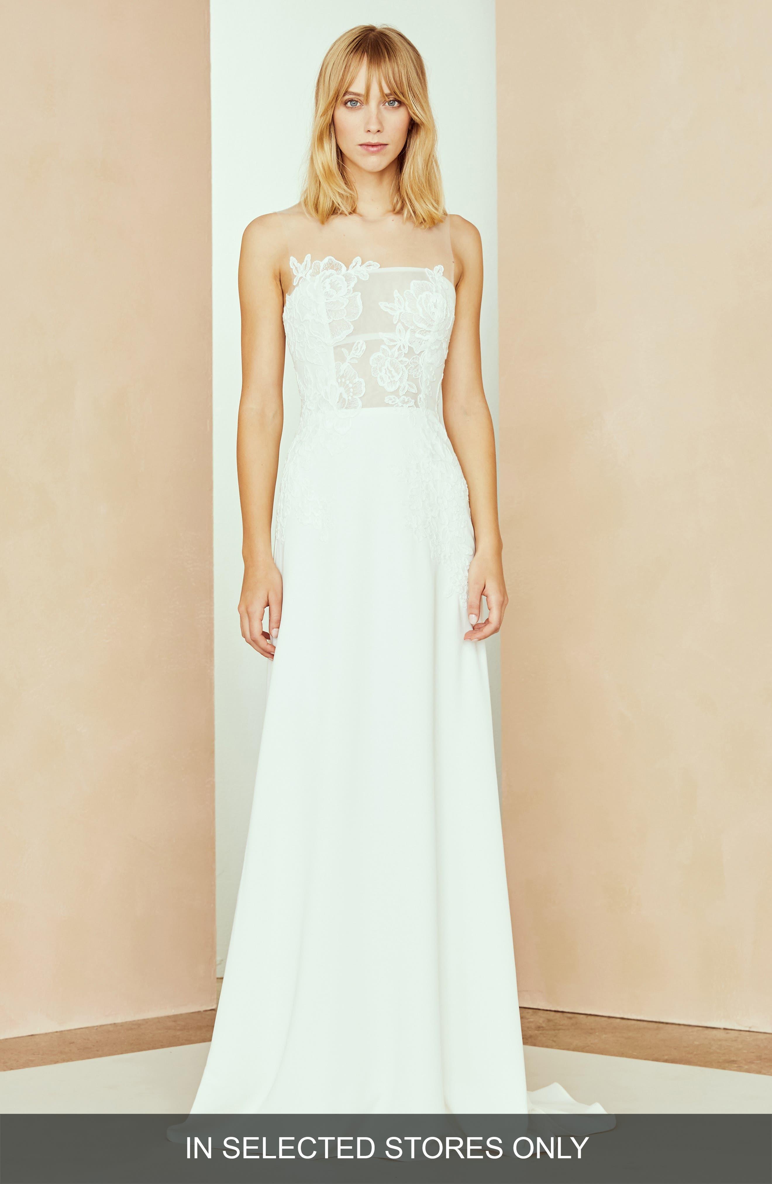Nouvelle Amsale Megan Organza & Crepe Column Gown, Size - Ivory