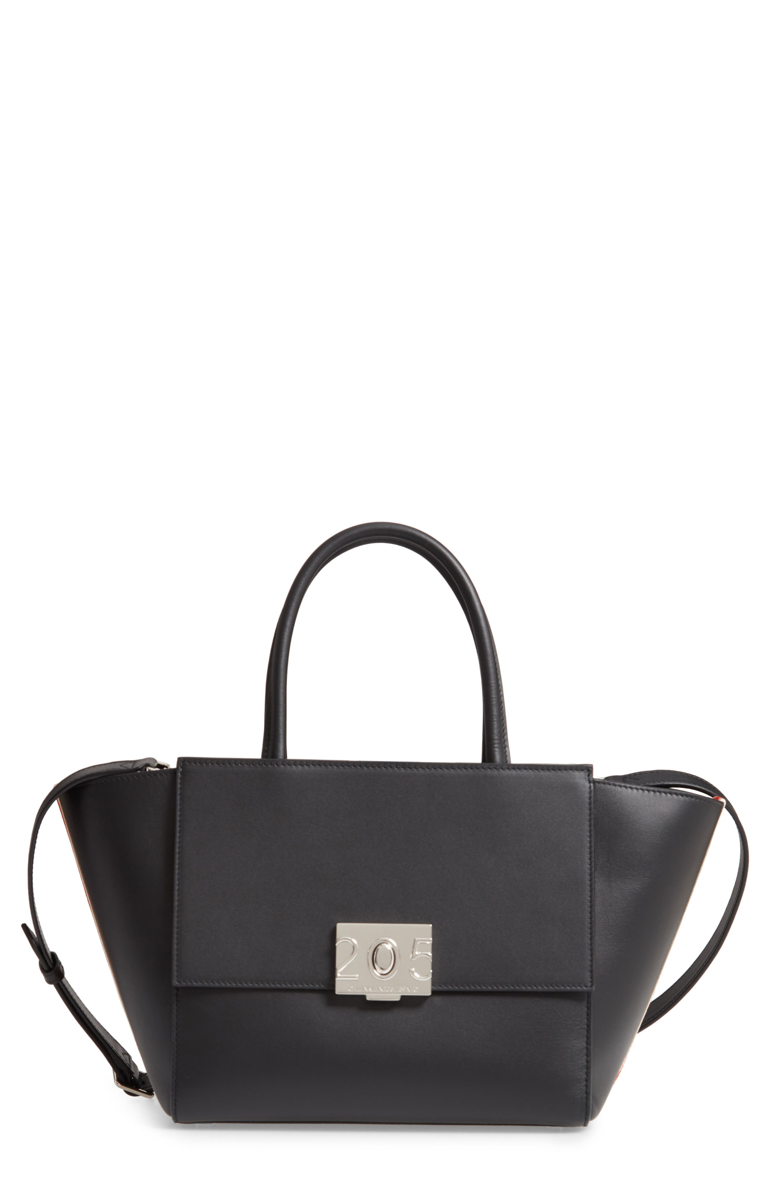 Bonnie Top Handle Leather Satchel,                         Main,                         color, BLACK