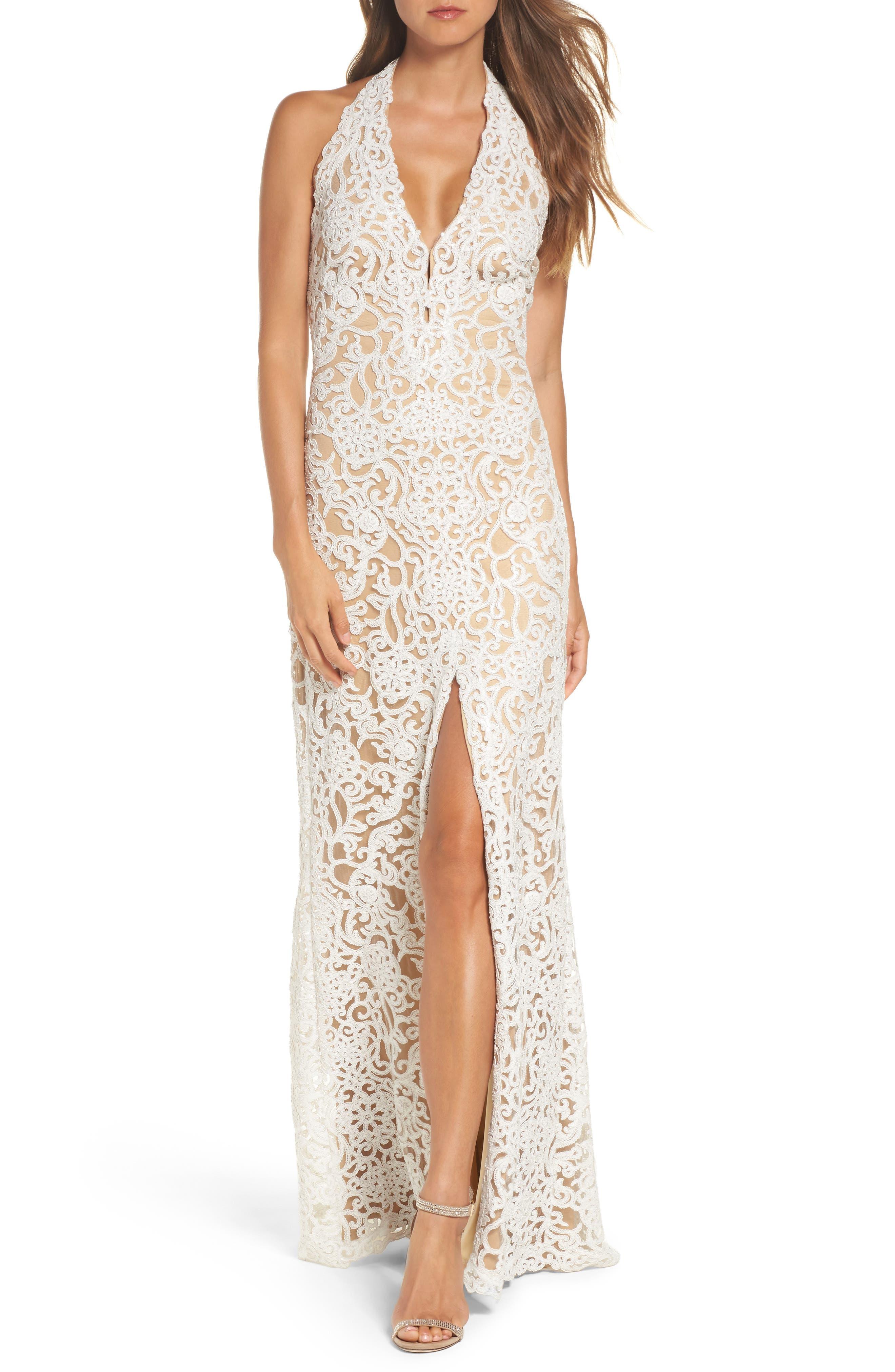 Tadashi Shoji Lace Front Slit Halter Gown, Ivory