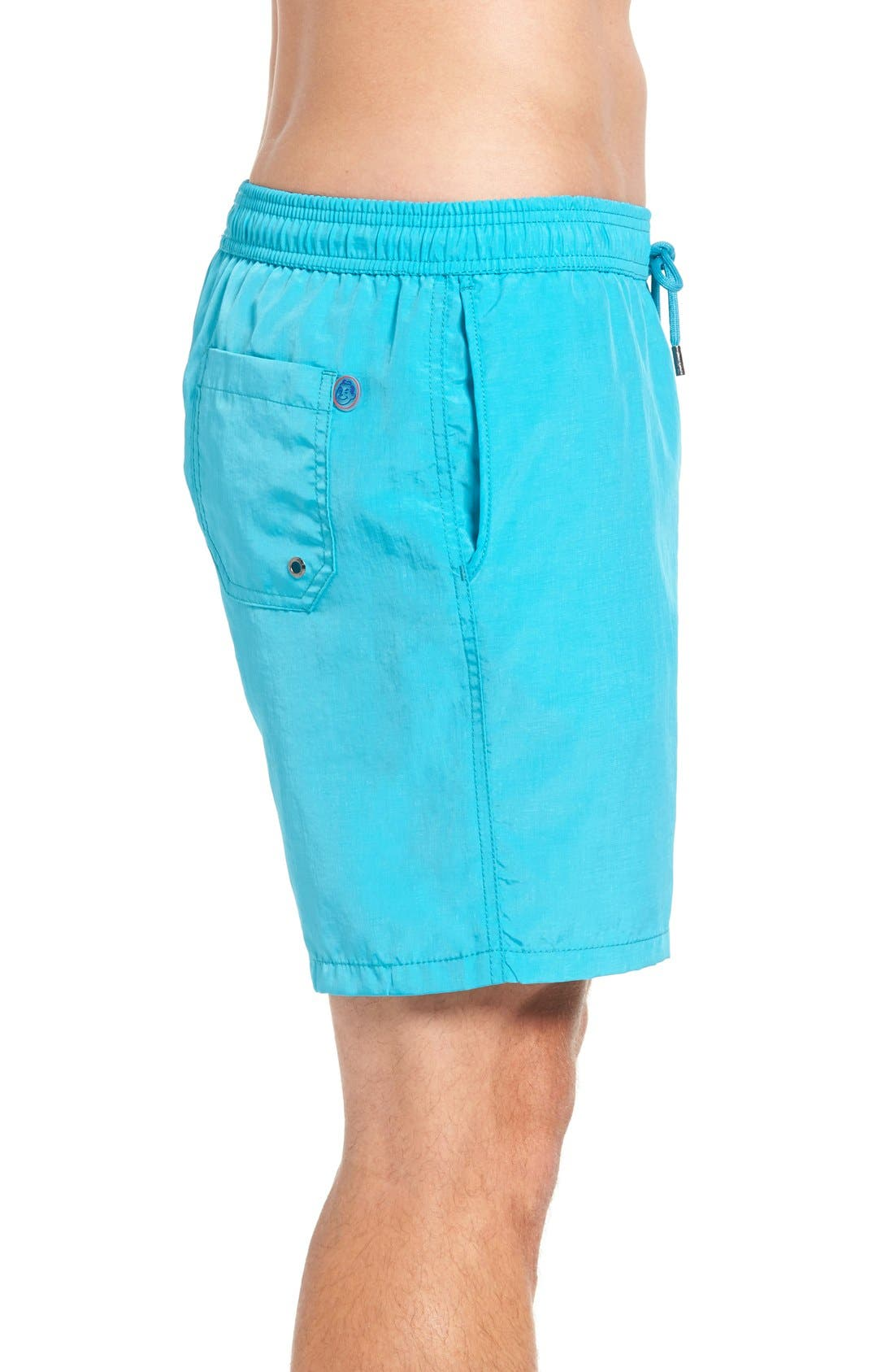 Cerulean Solid Swim Trunks,                             Alternate thumbnail 3, color,                             450