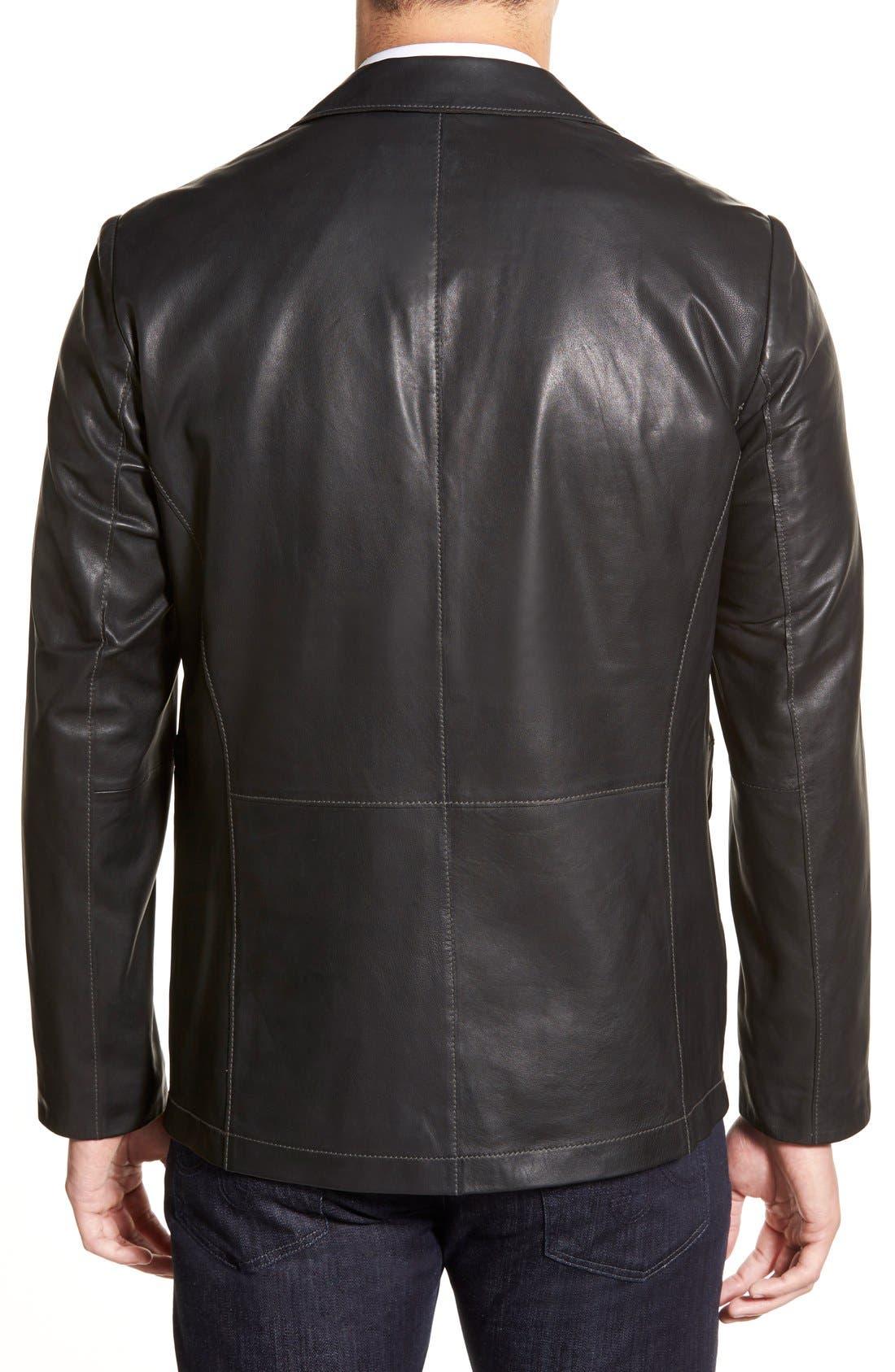 Lambskin Leather Sport Coat,                             Alternate thumbnail 3, color,                             BLACK
